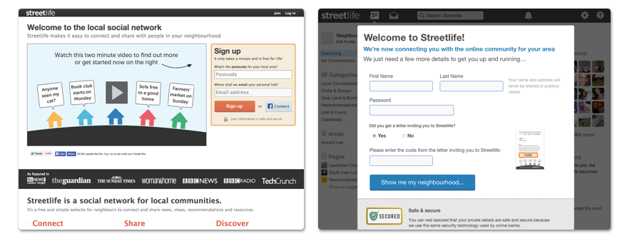 Having validated the hypothesis, we knew it was worth spending more time evolving the sign up flow. This shows the first two steps in my most recent winning design iteration. The forms have been simplified and redesigned even further.