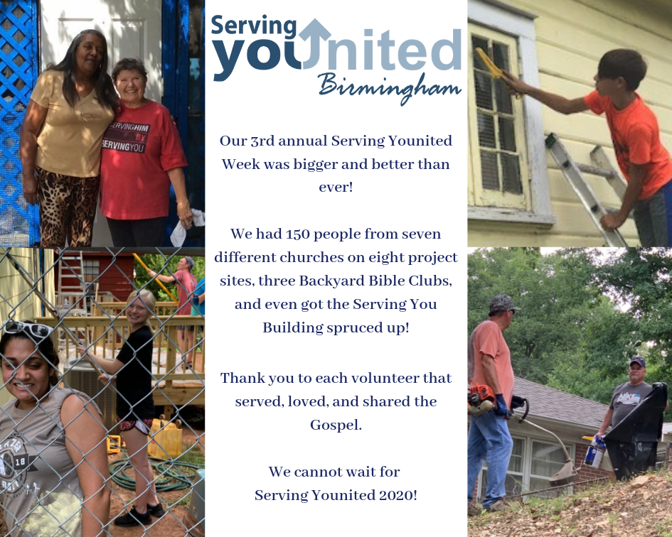 Our 3rd annual Serving Younited Week was bigger and better than ever! We had 150 people on eight project sites, three Backyard Bible Clubs, and even got the Serving You Building spruced up!.png