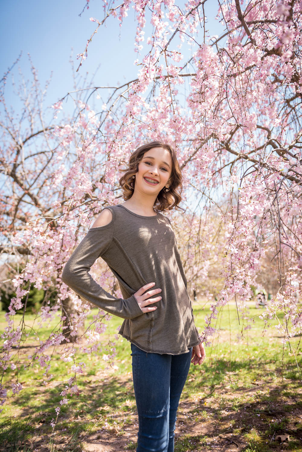 mitzvah glamor session in cherry blossoms