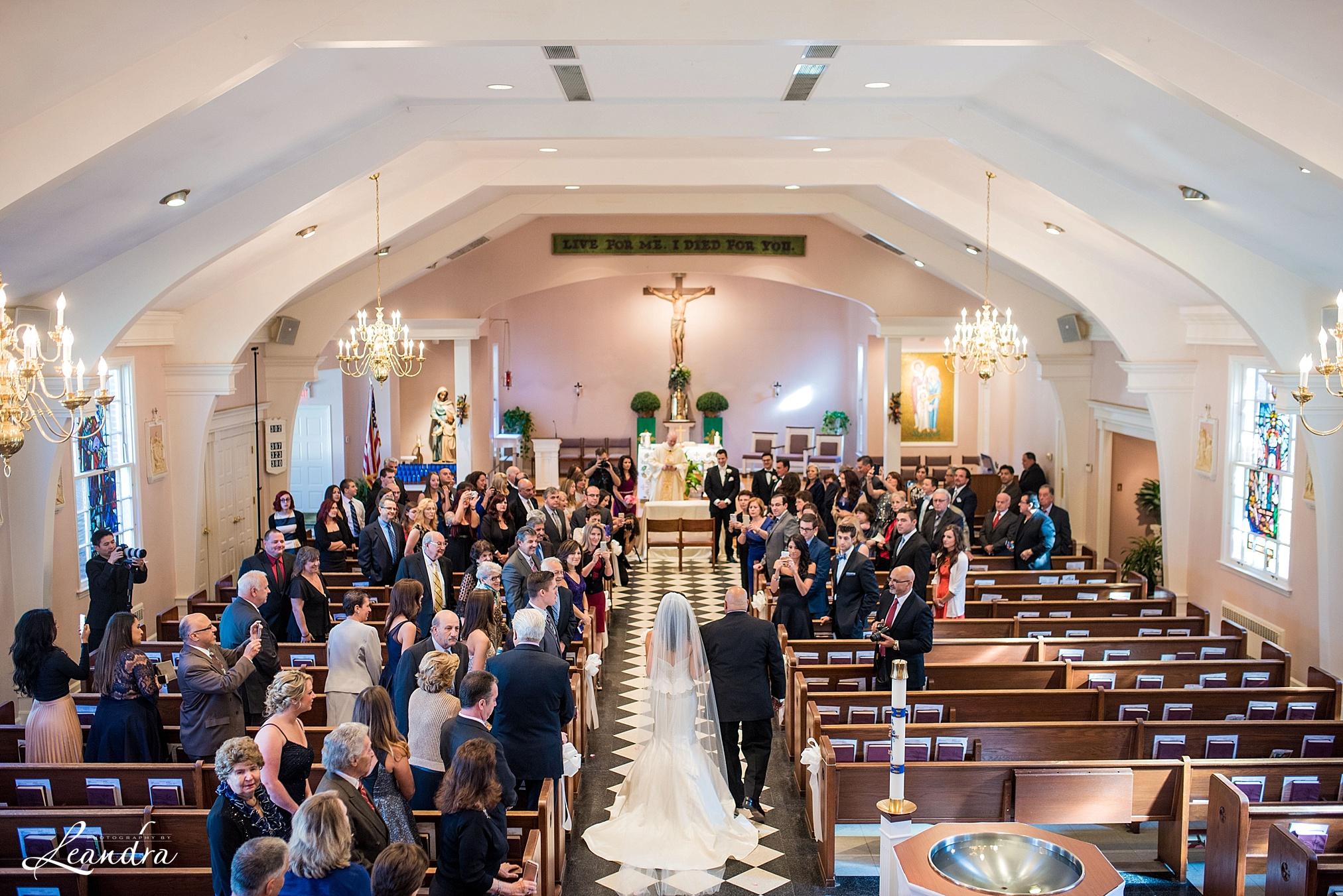 The Park Savoy Estate Wedding Bride Walking down the church aisle | New Jersey Wedding Photographer