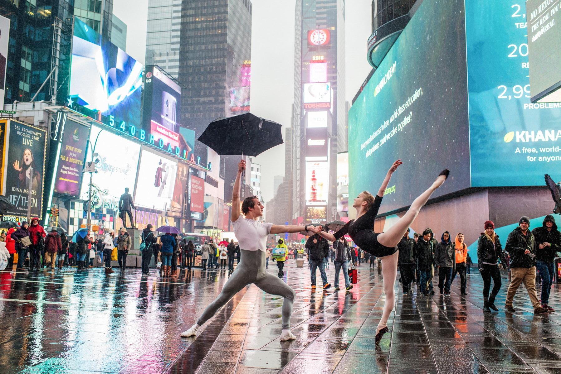 Ballet Dancers Dancing in the Rain in Time Square NYC