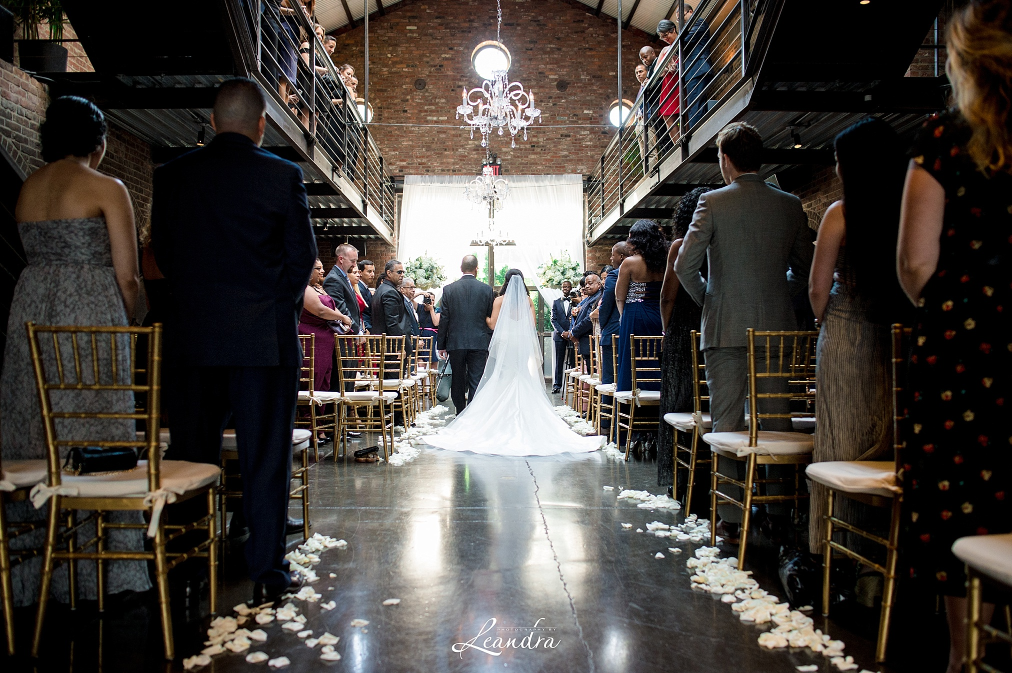 The Foundry Wedding in Long Island City Bride walking down the aisle   New York Wedding Photographer