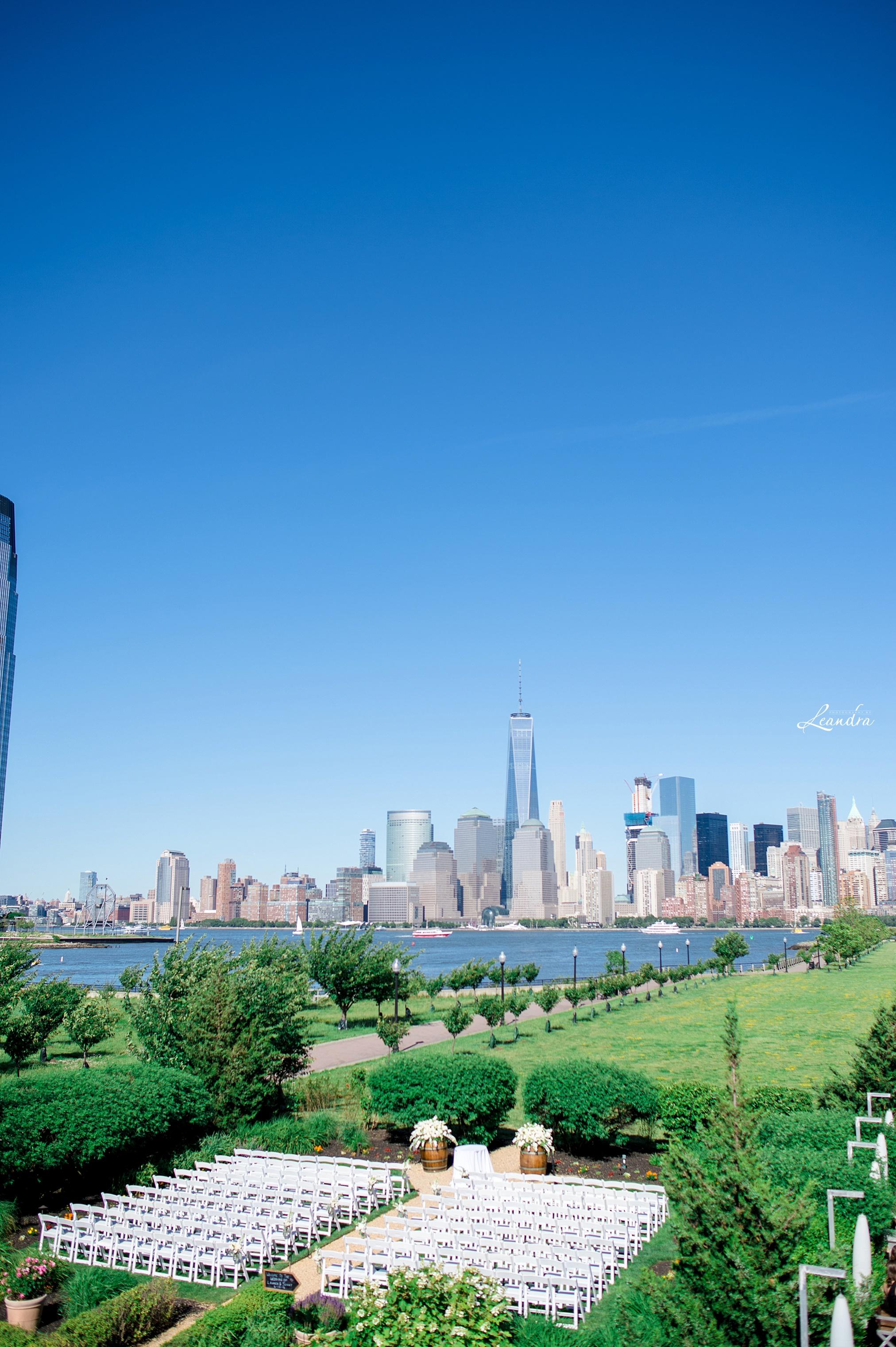 Liberty House Ceremony View with New York Skyline   New York Wedding Photographer