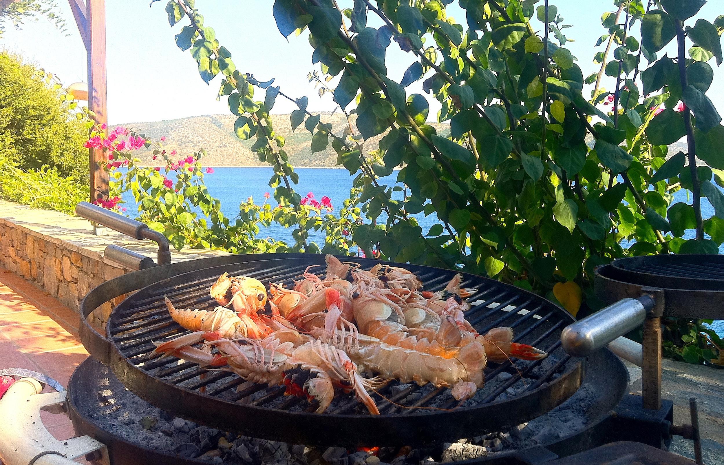 Fresh crayfish on the BBQ at the villa.