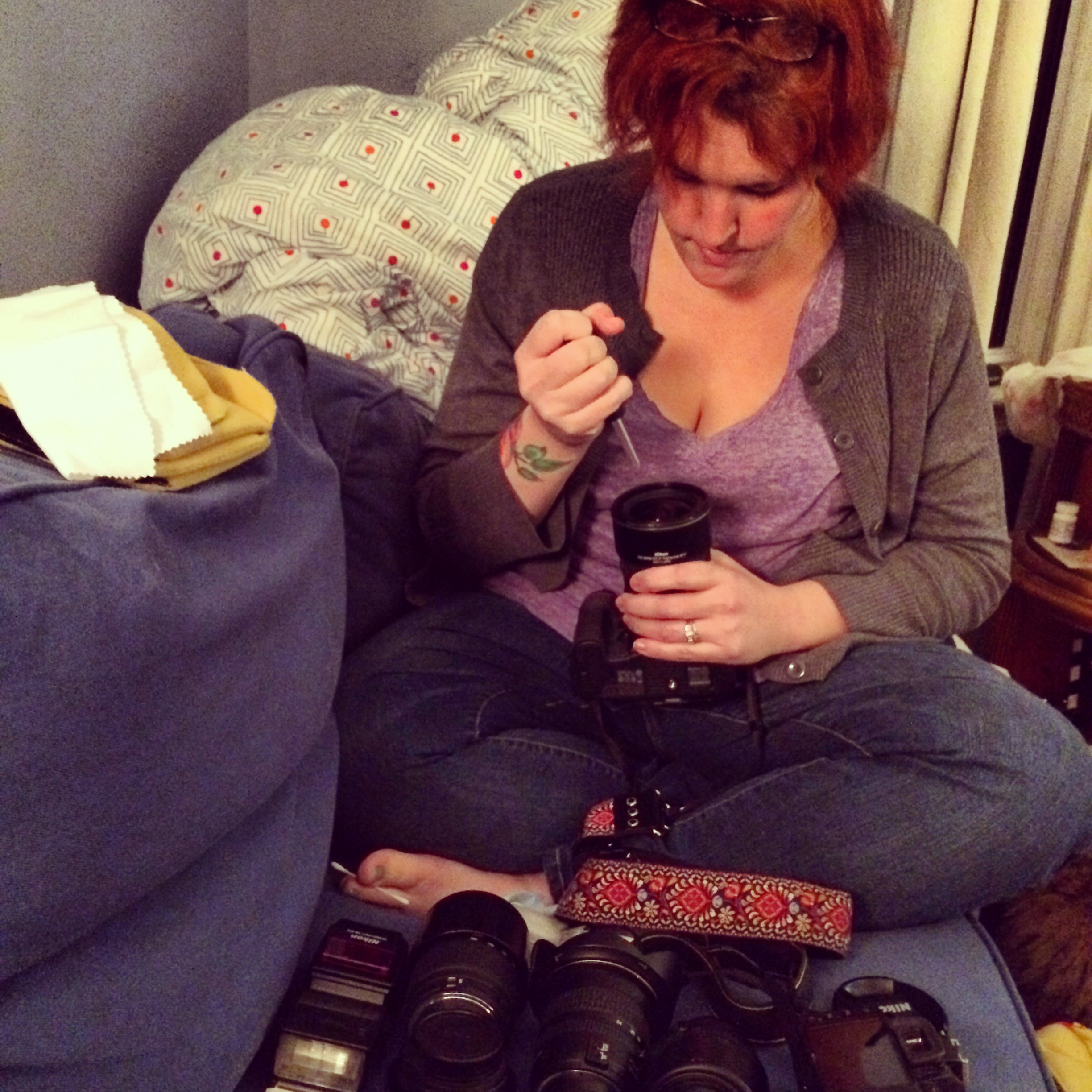 """This is what it looks like to clean all of your lenses the night before """"The Big Event"""""""