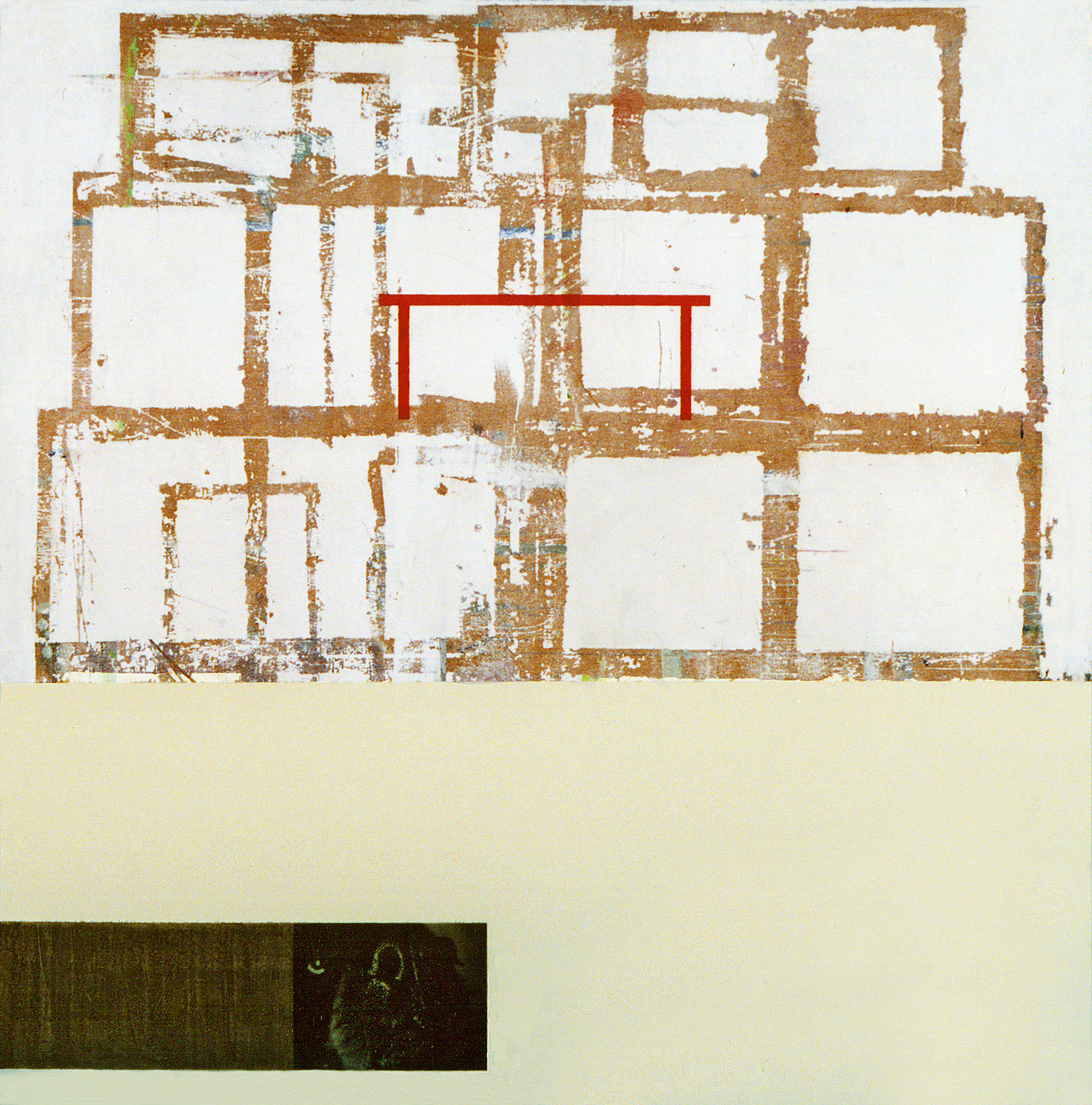 Houses On Houses,  2001, acrylic, collage on chipboard