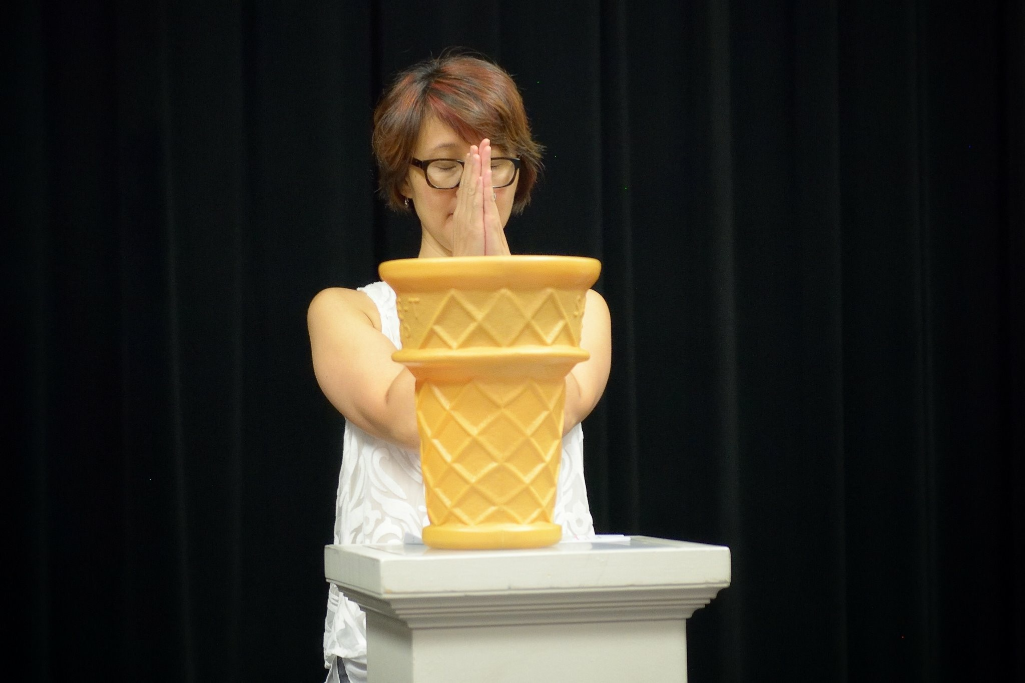 Director Mimi Katano, standing before the Cone of Destiny.