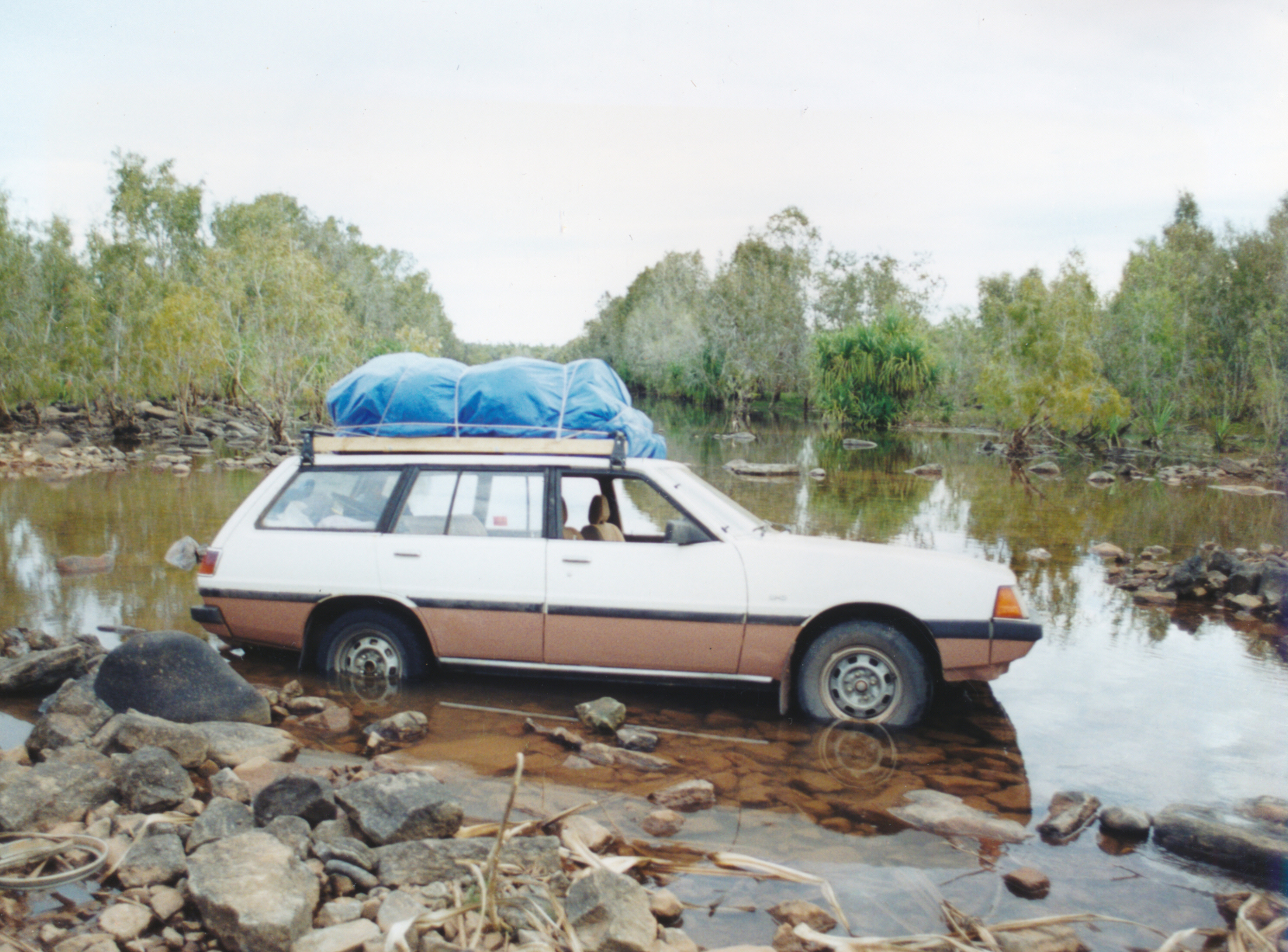 My car  stuck in the Calvert river. Whenever this would happen to one of the vehicles we either pushed or pulled it out, Most of the rivers don't have bridges so you have to drive through them.