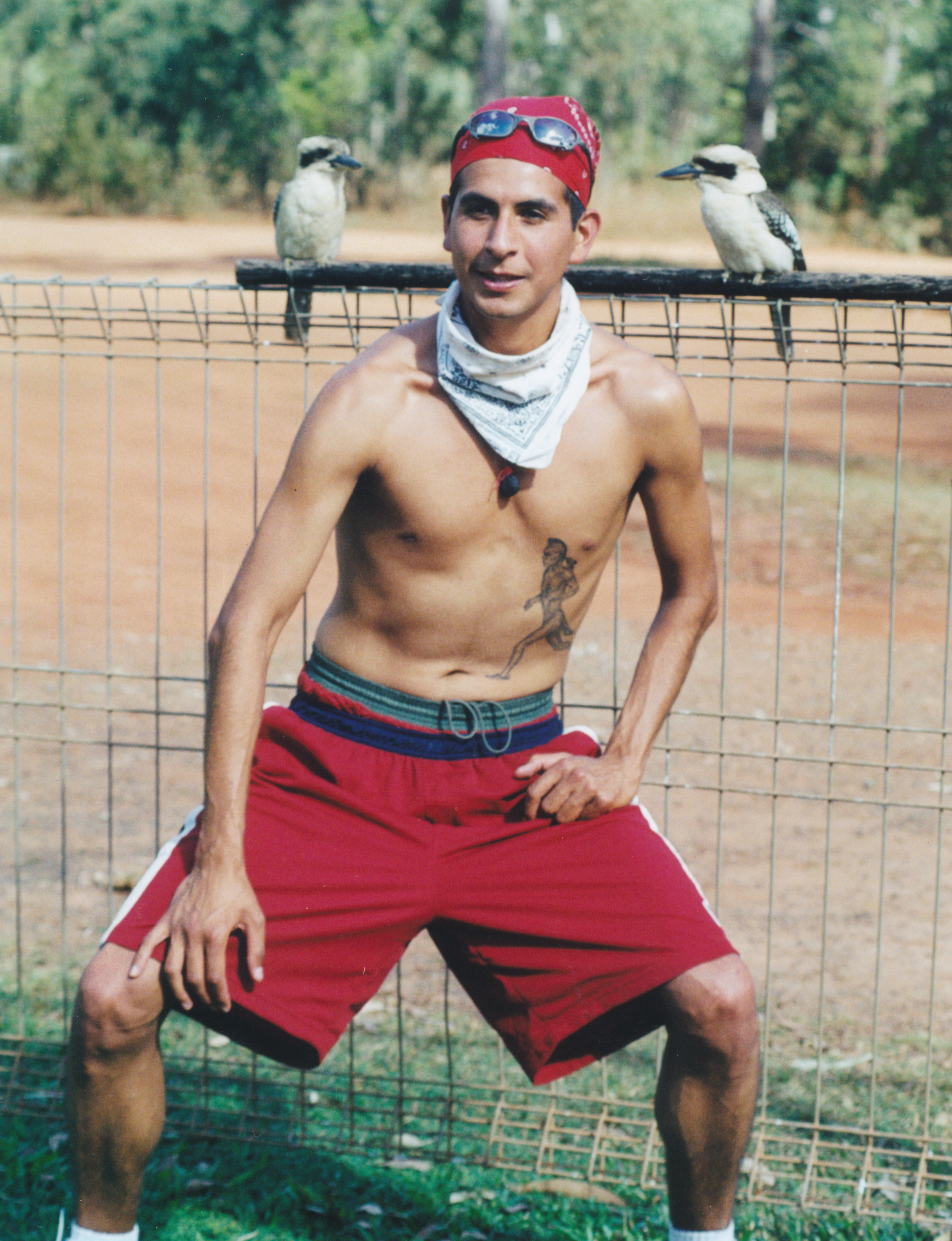 Emillio posing with 2 semi-tame Kookaburras near Halls Creek, Western Australia