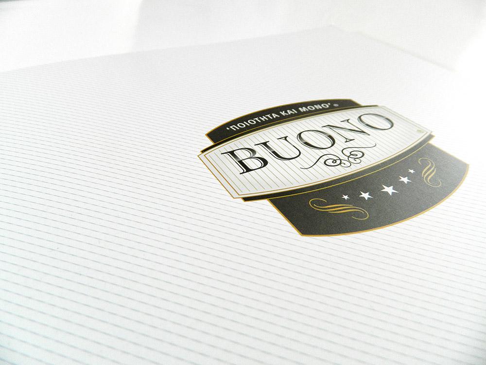 """Σχεδιασμός folder και μονόφυλλων εντύπων για τα προϊόντα """"BUONO""""."""