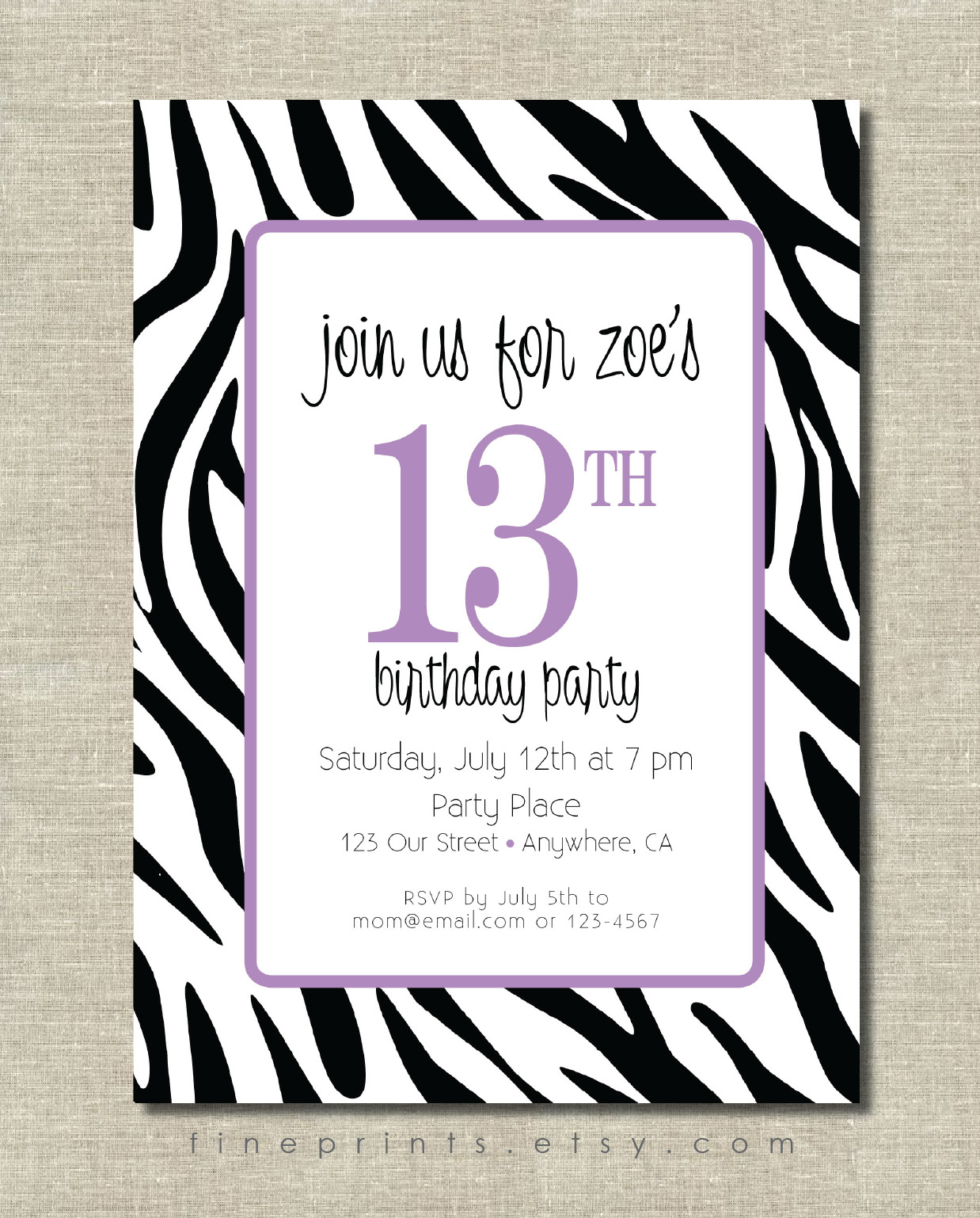 zebra purple invitation