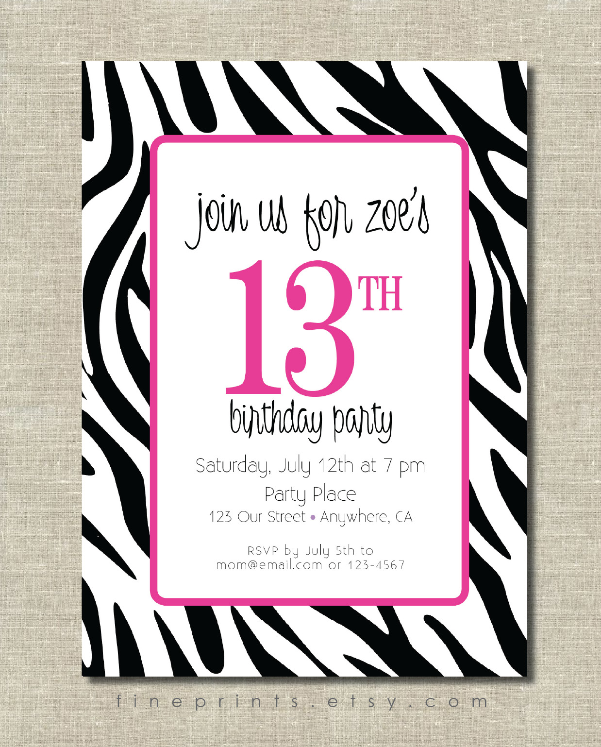 zebra pink invitation for etsy