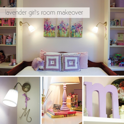 lavender girl's room makeover with built in shelves and gold sconces image.jpg
