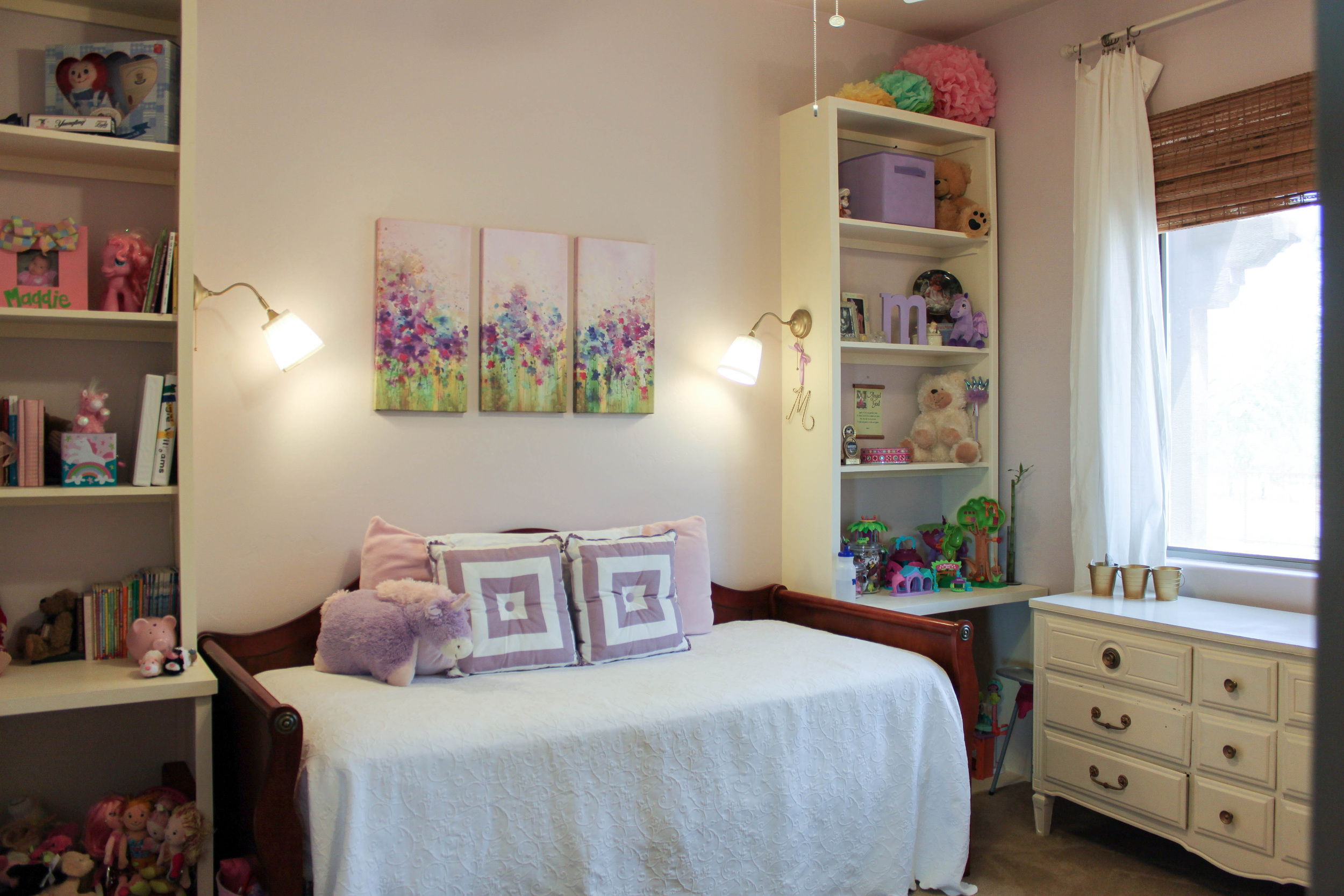 girls lavender room with built-ins