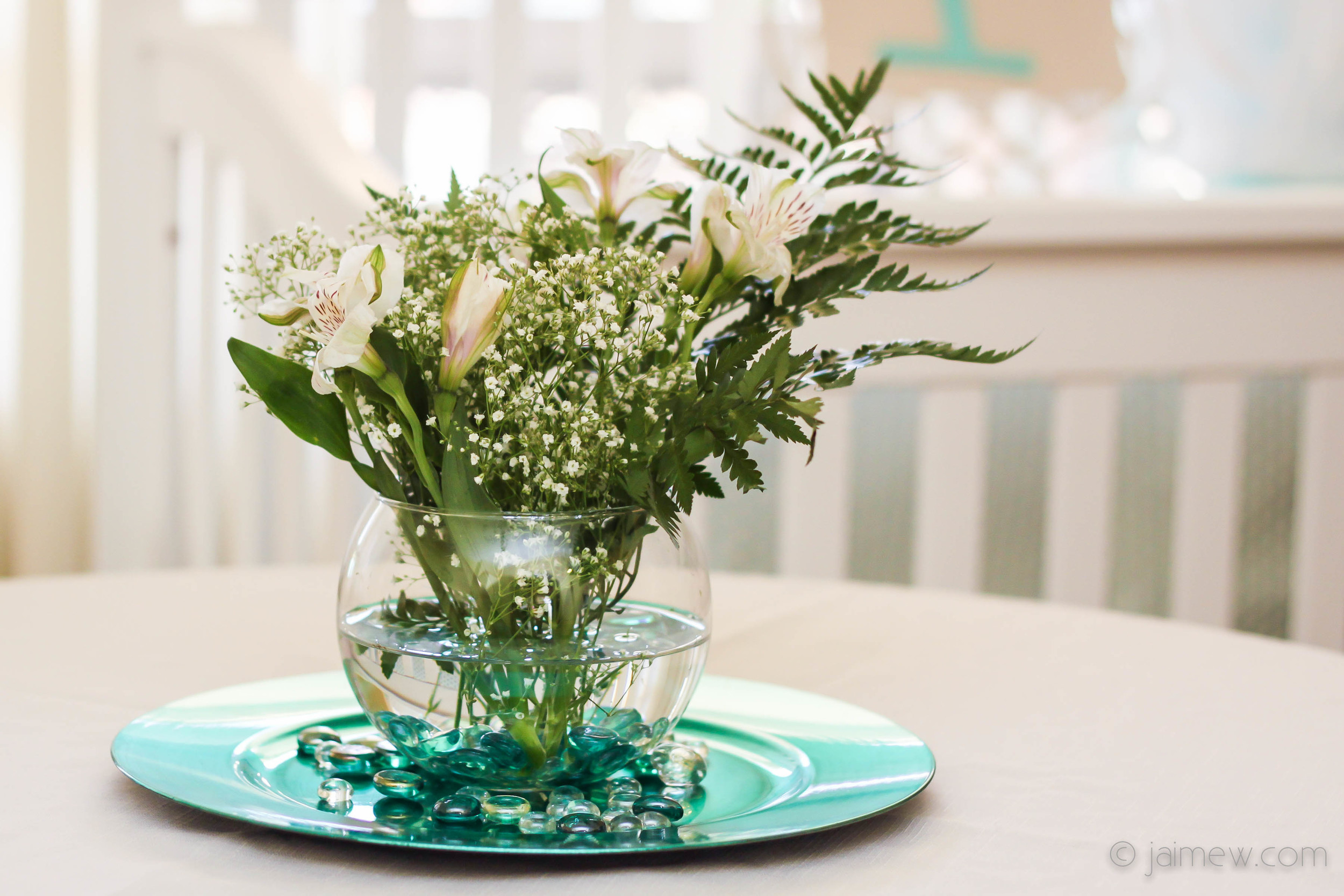 floral centerpiece for tiffany blue and bows baby shower
