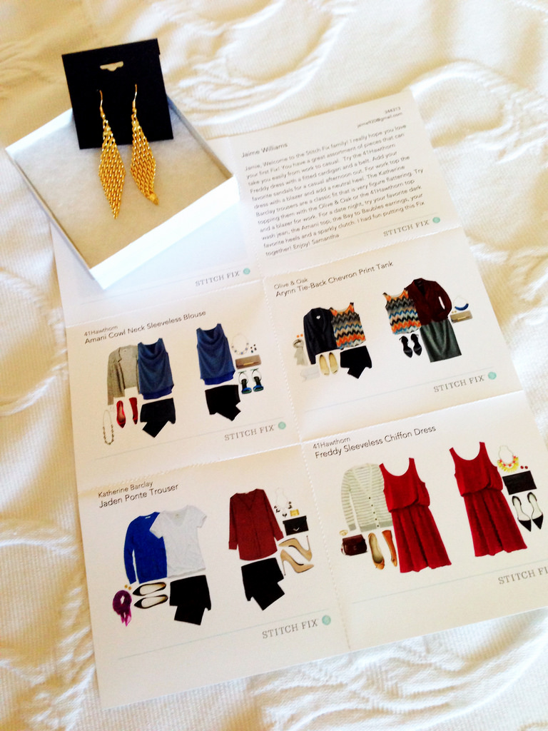 stitch fix style card and earrings