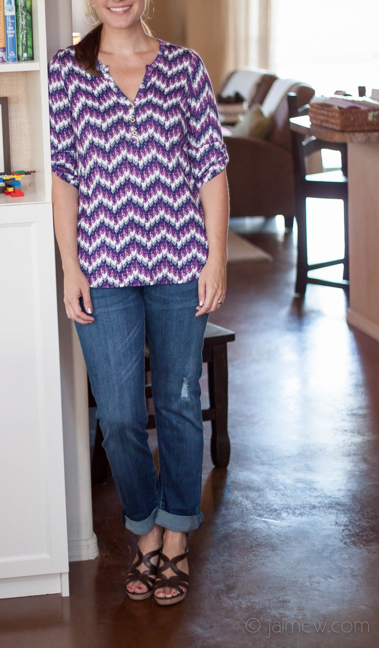 Stitch Fix Review / pixley edmond chevron print henley shirt and out from the cloth kate distressed boyfriend jean