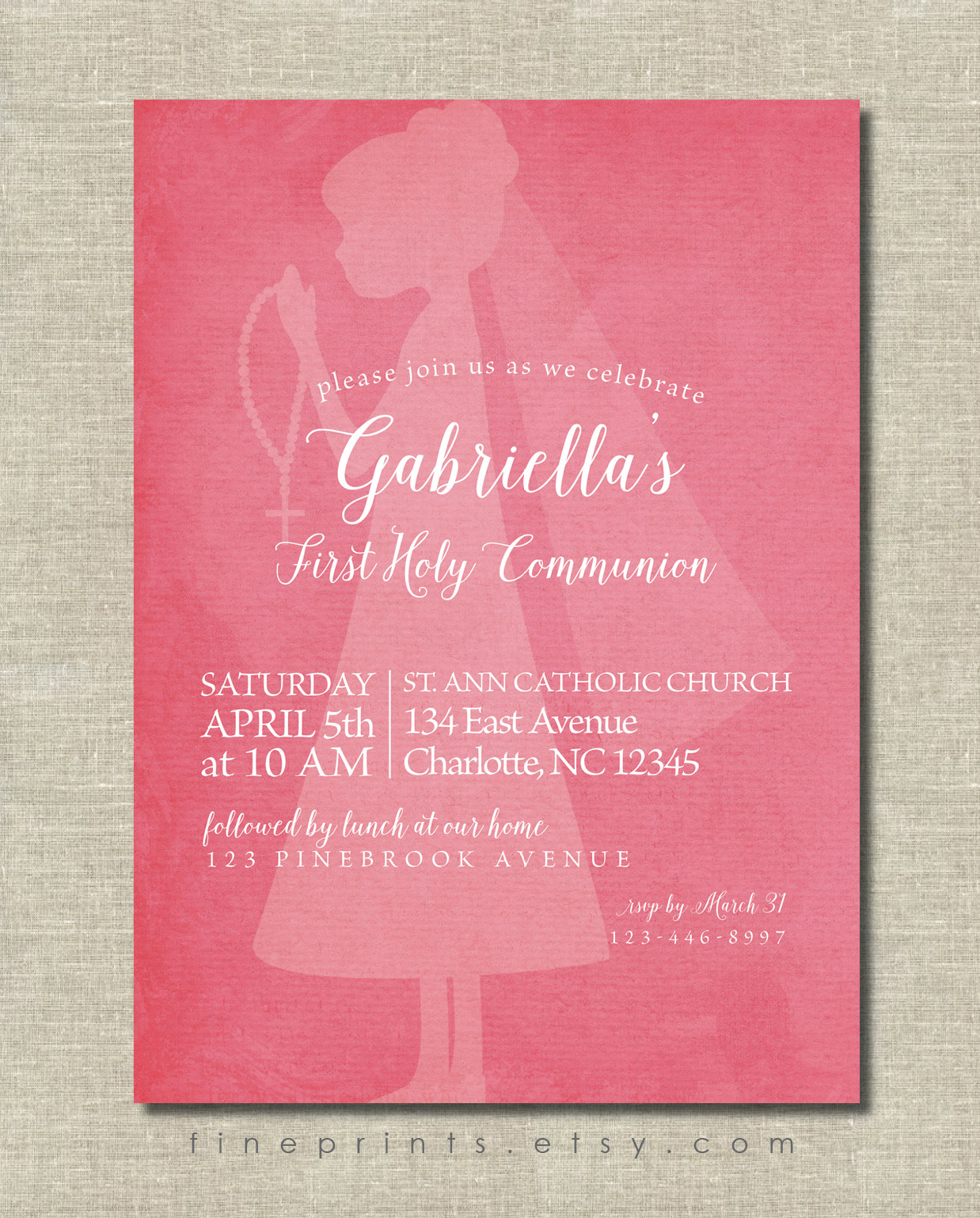 First Communion Invitation with watercolor background, silhouette, and calligraphy script