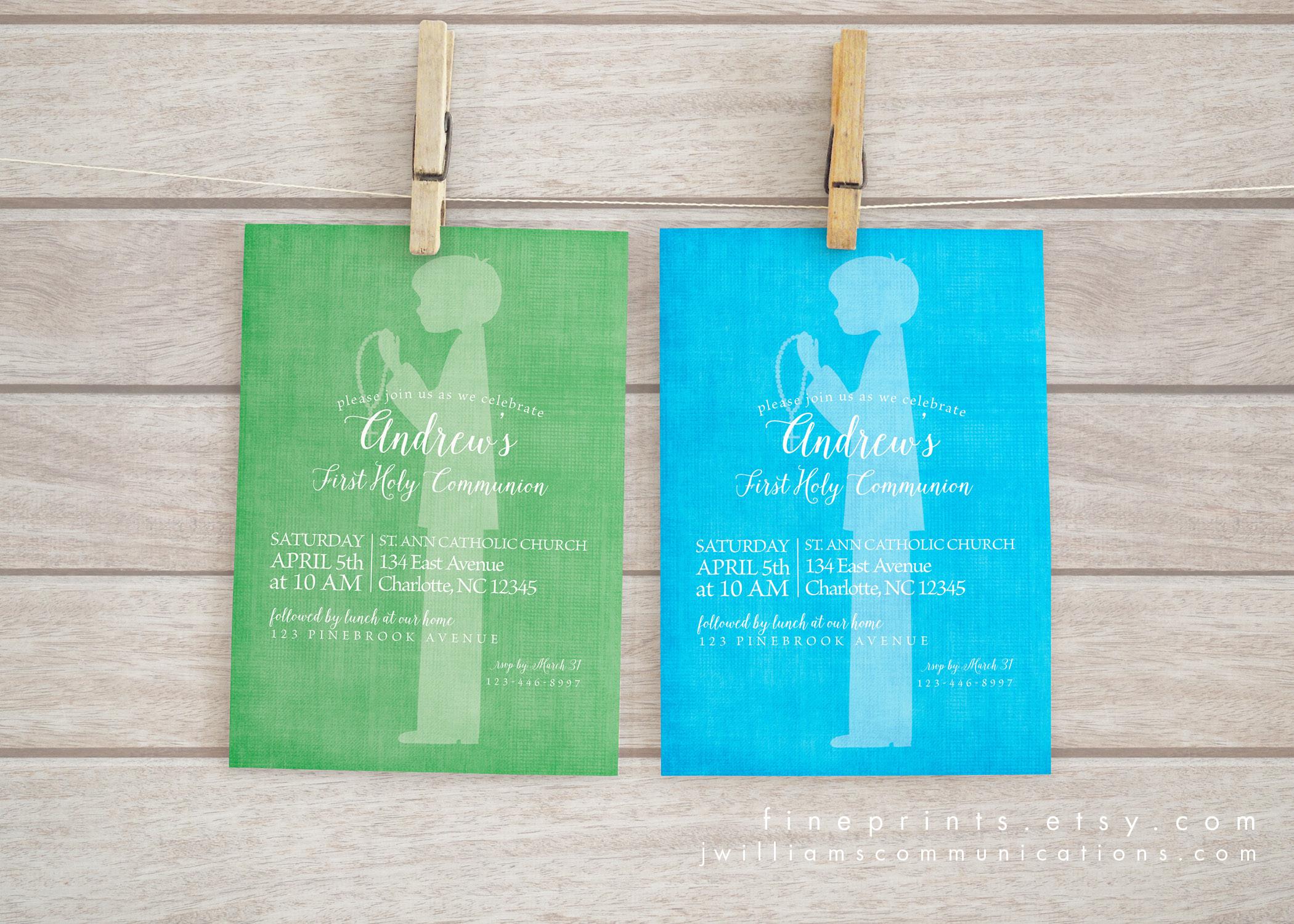 Boy Silhouette First Communion invitations example2.jpg