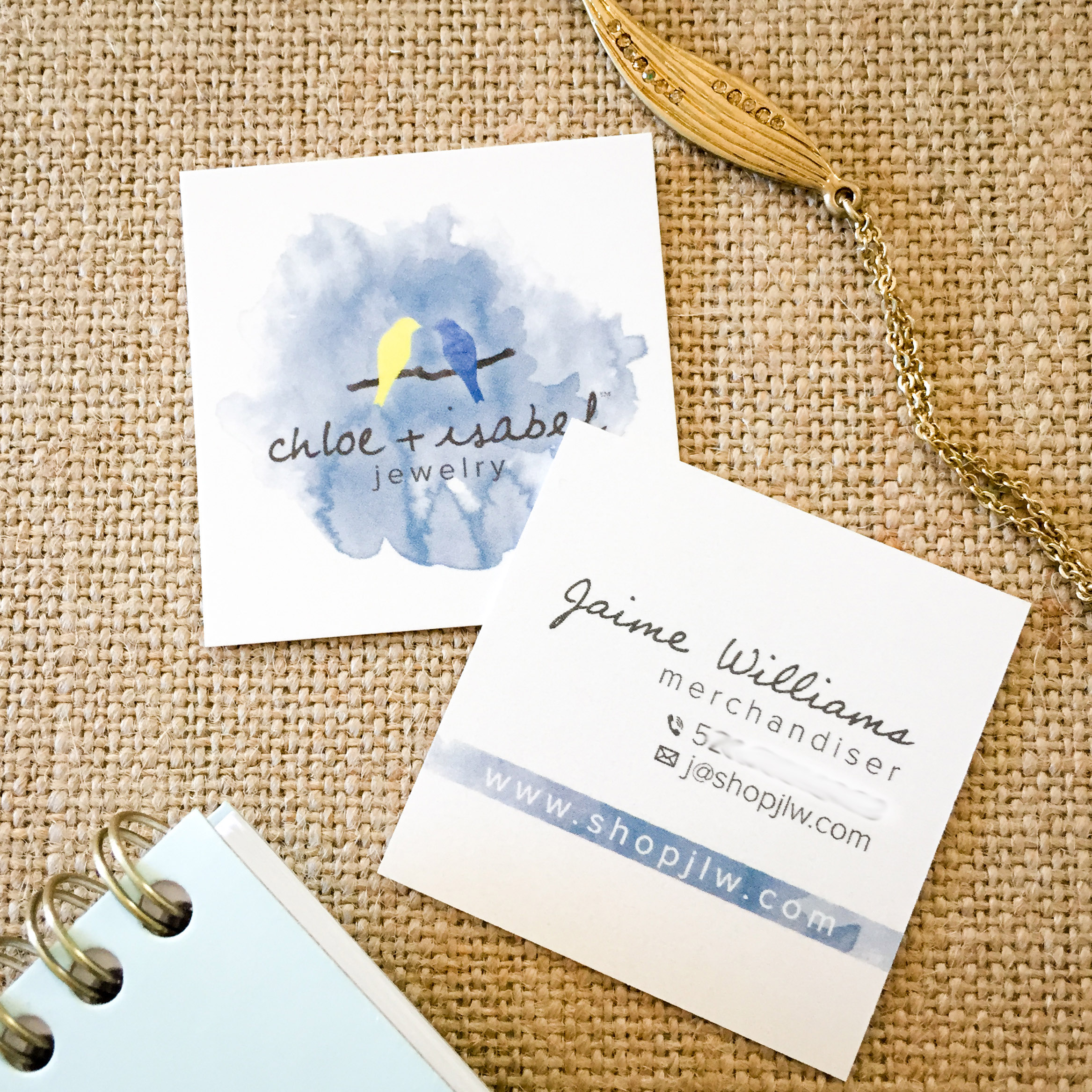 chloe+isabel watercolor pearl square business card design