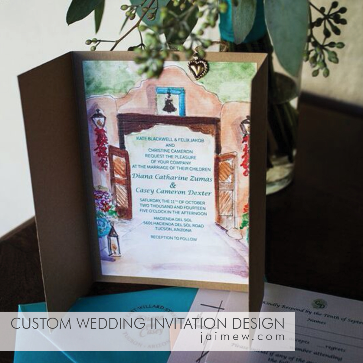 custom wedding invitation and stationery design