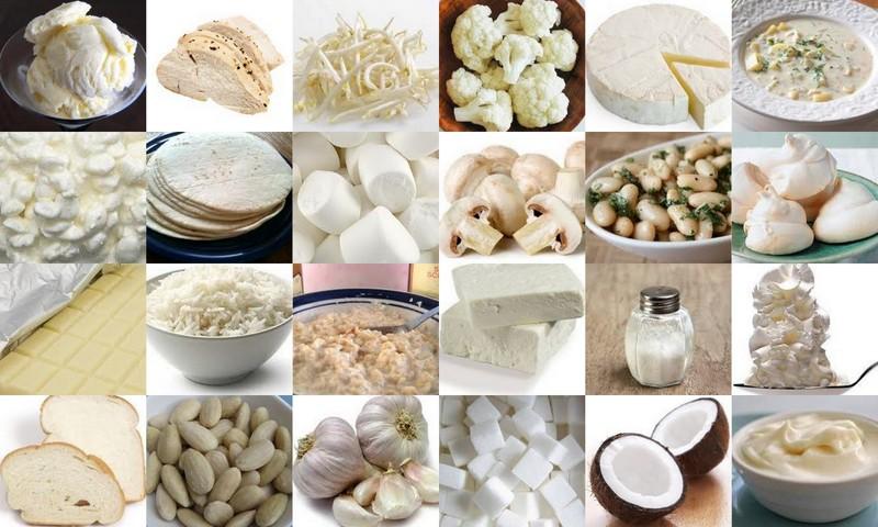 Maten på bildet representerer ikke nødvendigvis mat man kan spise på en eliminasjonsdiett! image sourceØhttp://gemstone.rocksrevealed.com/media/wysiwyg/whitepics/Whitefoods.jpg