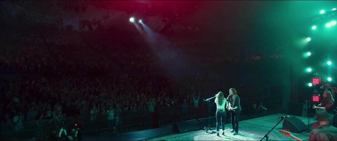 Another example of the cyan and red during Jack and Ally's first performance of  Shallow.  Here you can see the blue almost creating a force field around the couple from the red.