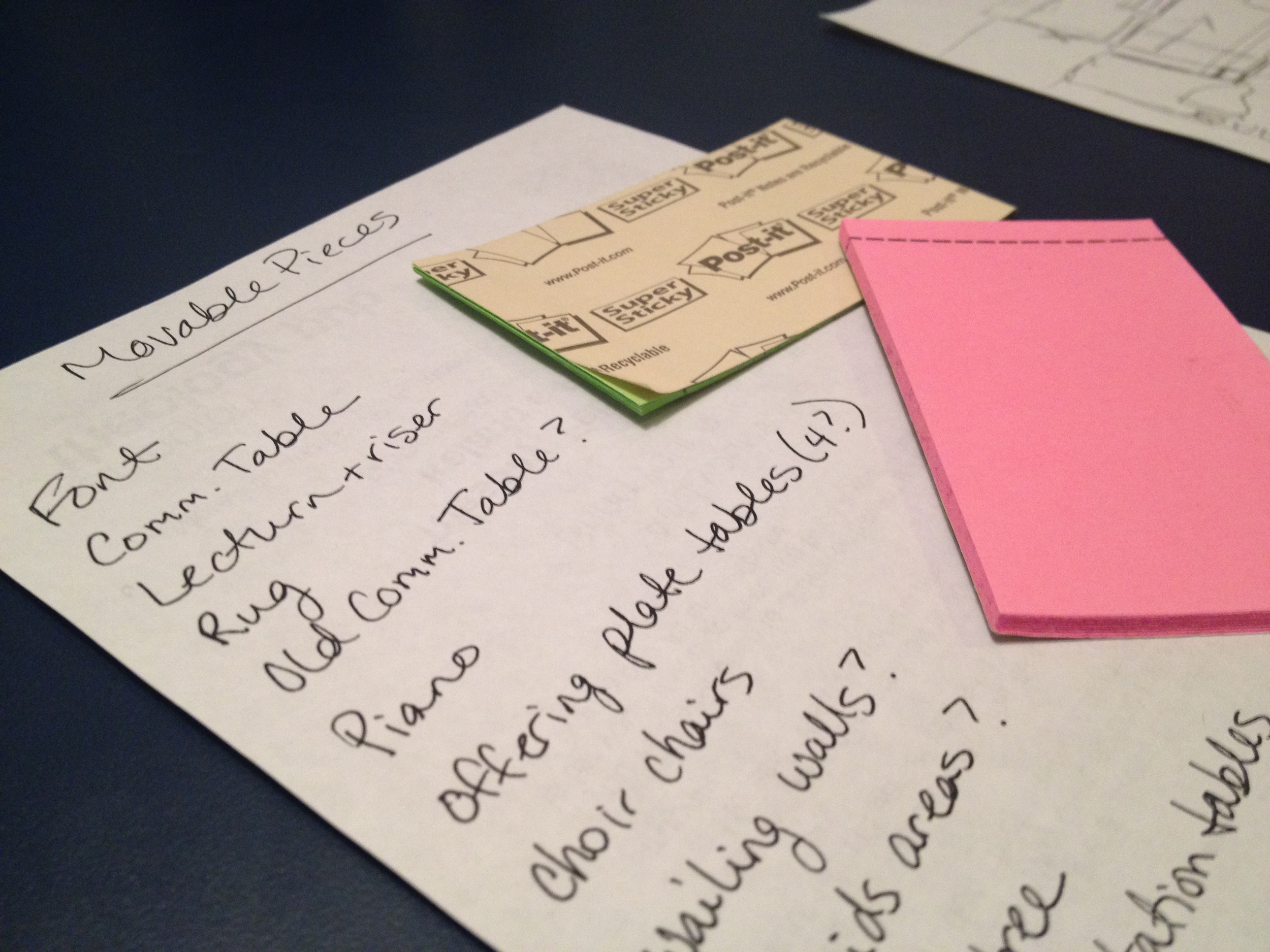 A list of non-permanant items and the Post-It labels used to represent the items.