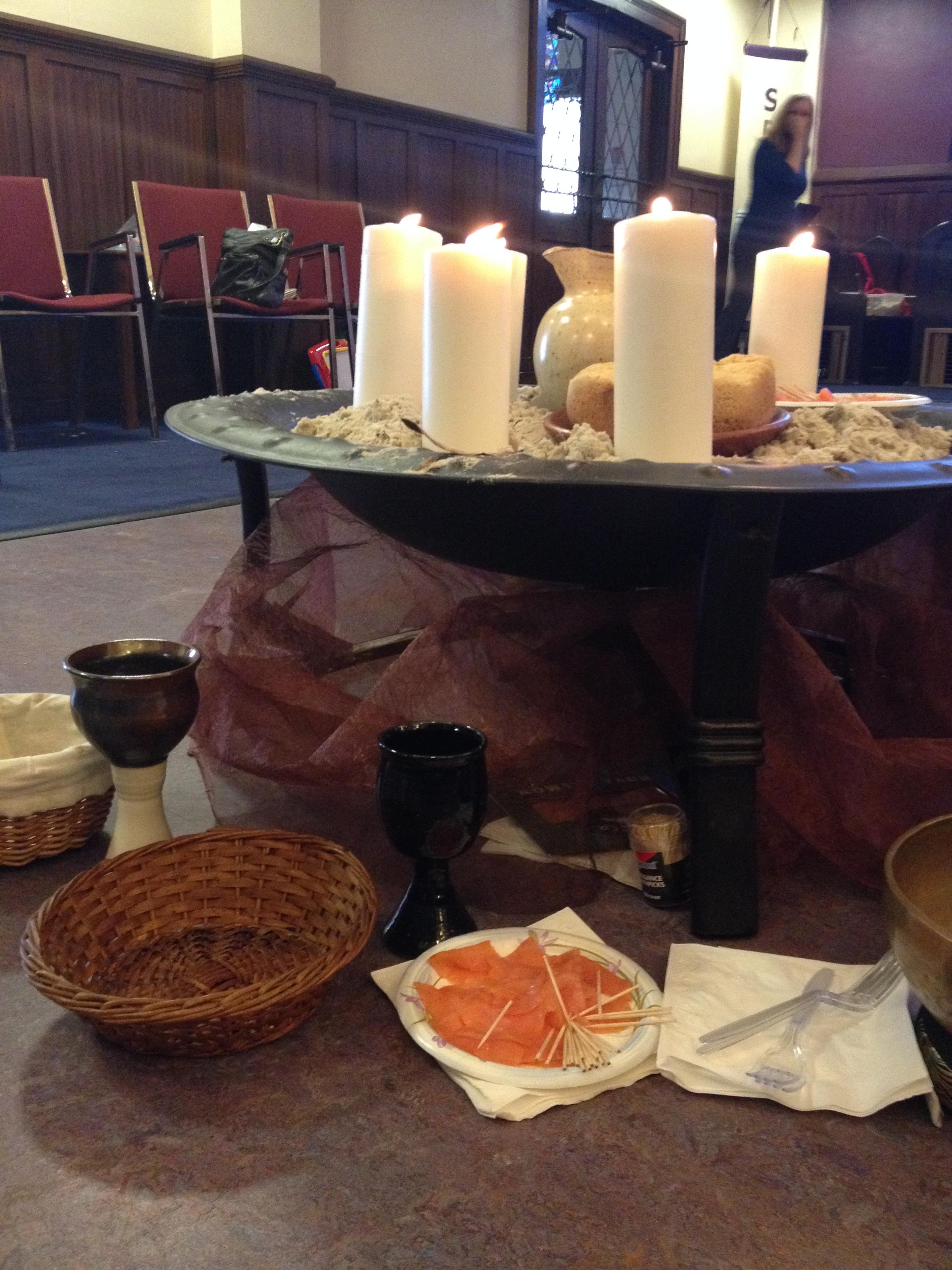 Breakfast by the Sea Communion Setting, based on John 21, created by Ashley Goff. Church of the Pilgrims, Washington, DC.