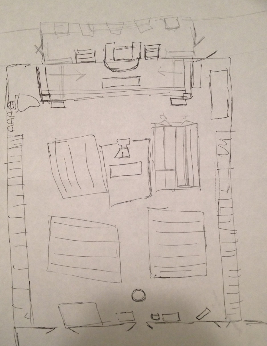 My first draft of a map of the sanctuary (sketched during a presbytery meeting, shhh!).