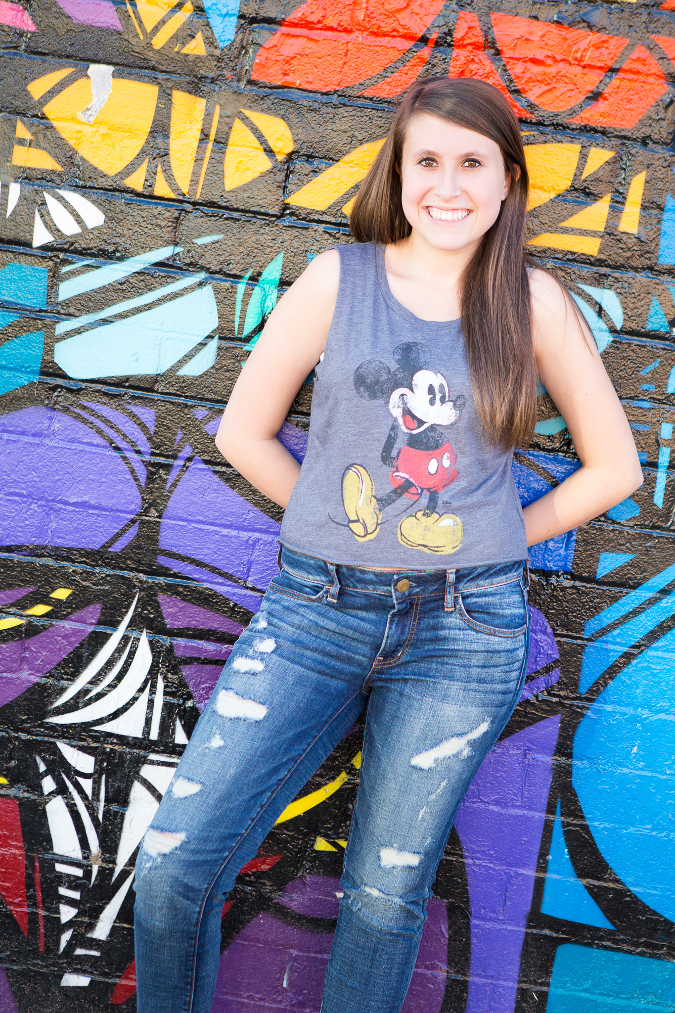 senior-photography-downtown-phoenix-mural-colorful-mickey-mouse