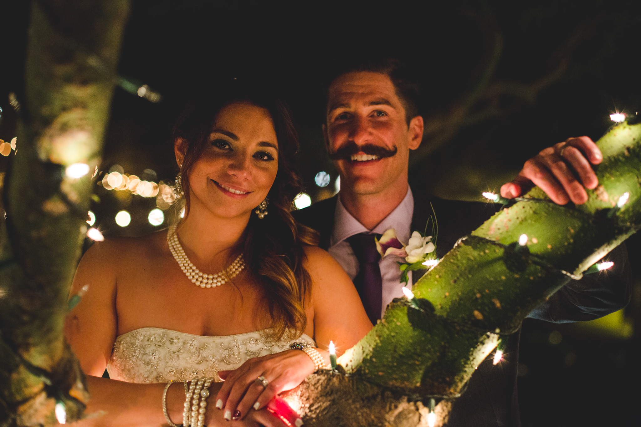 lc bride and groom twinkle lights portrait