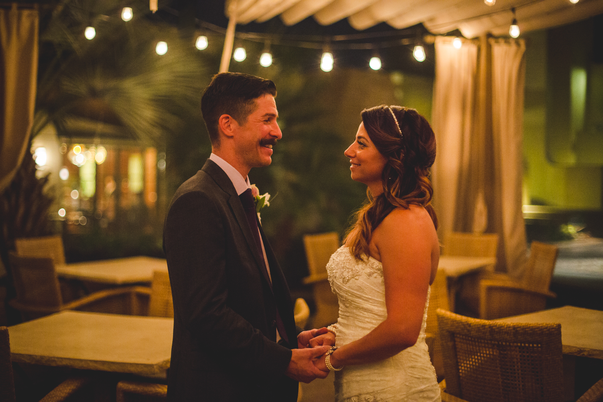 lc bride and groom soft twinkle lights