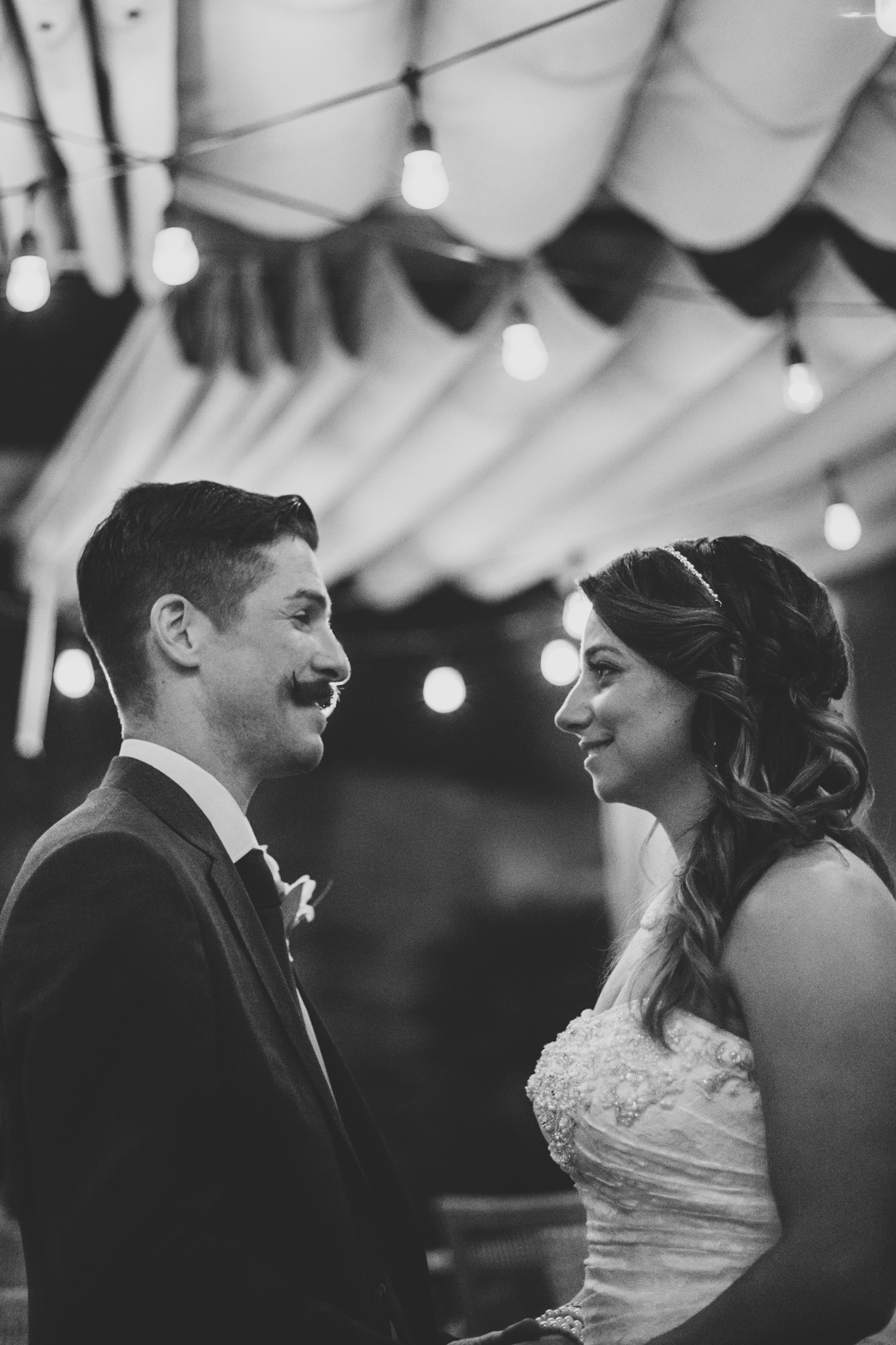 lc bw bride and groom night time shot