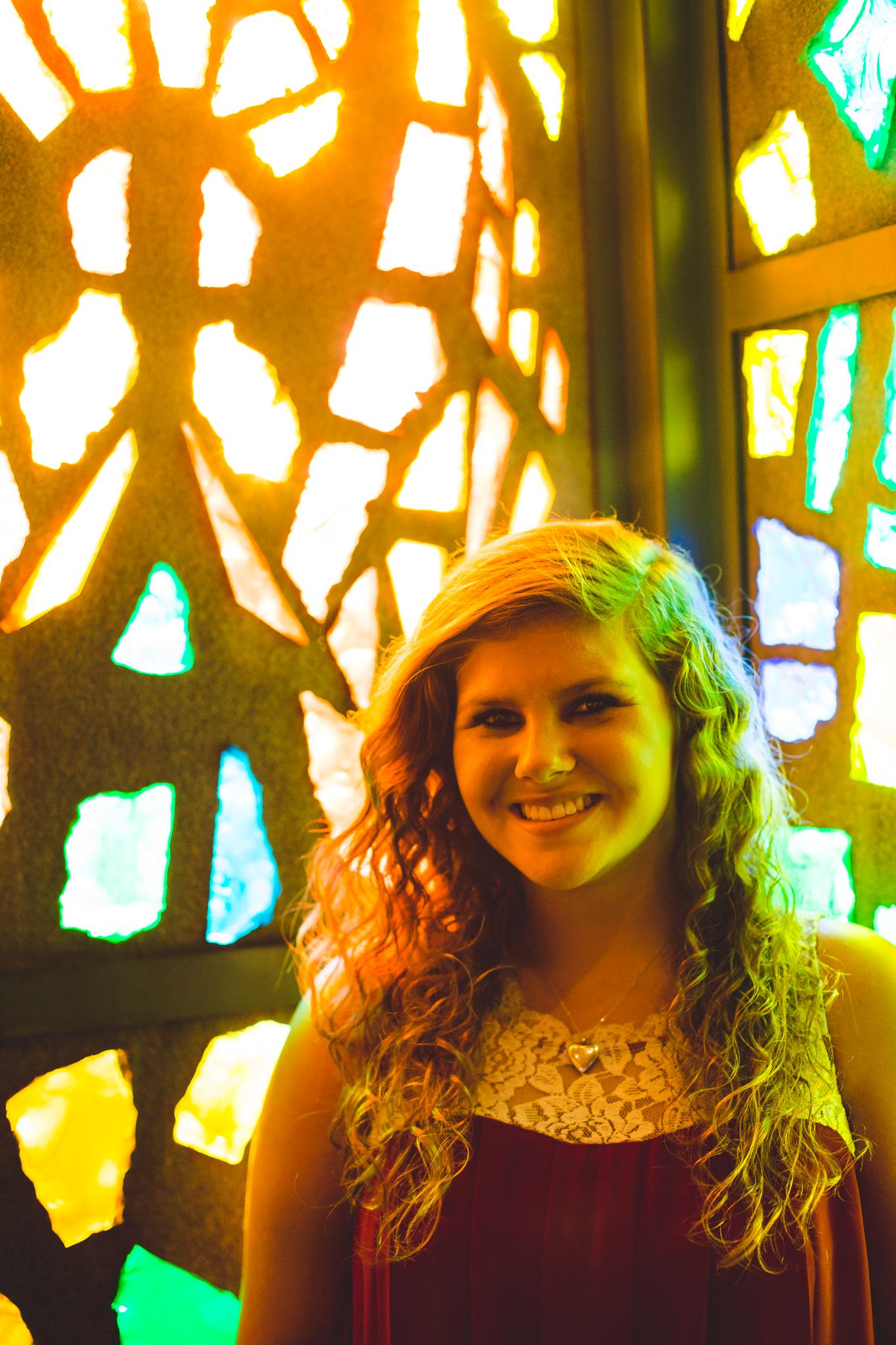 Phoenix Senior Photography Marissa Smiles Stained Glass