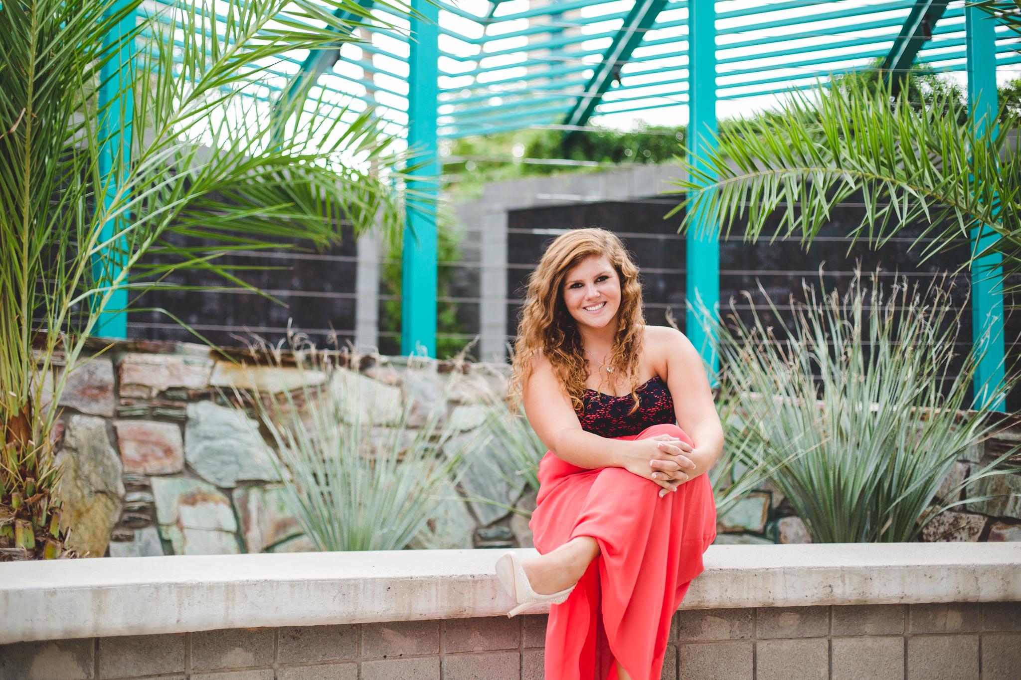 Marissa Sits on Bench Great Architecture Garden