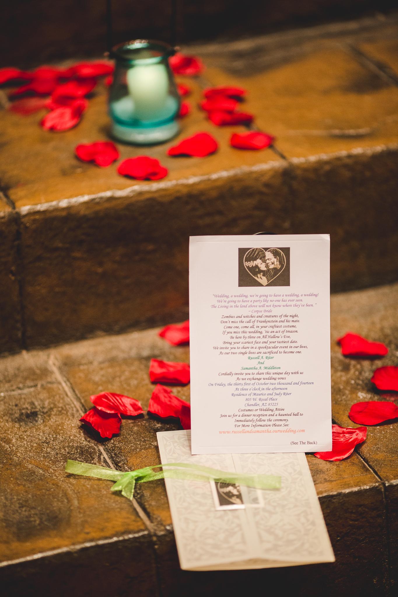 wedding detail shot invitation rs phoenix wedding photographer