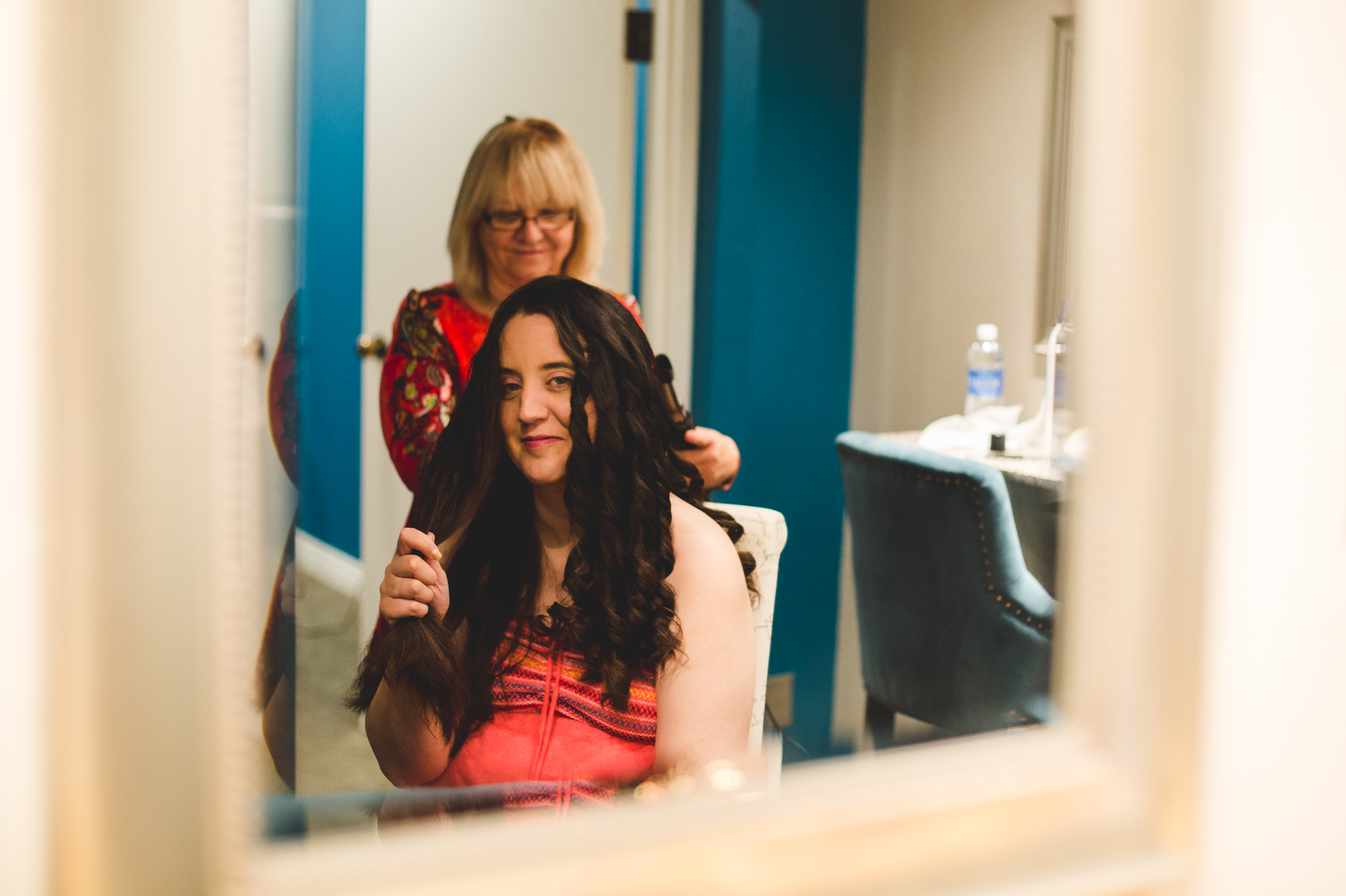 rs samantha smiles as hair gets done
