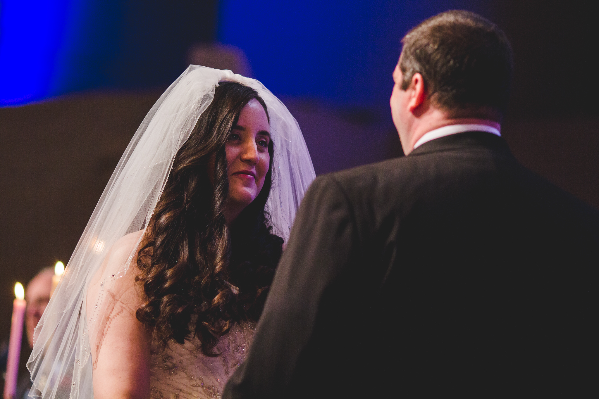 rs bride looks at groom and smiles ceremony
