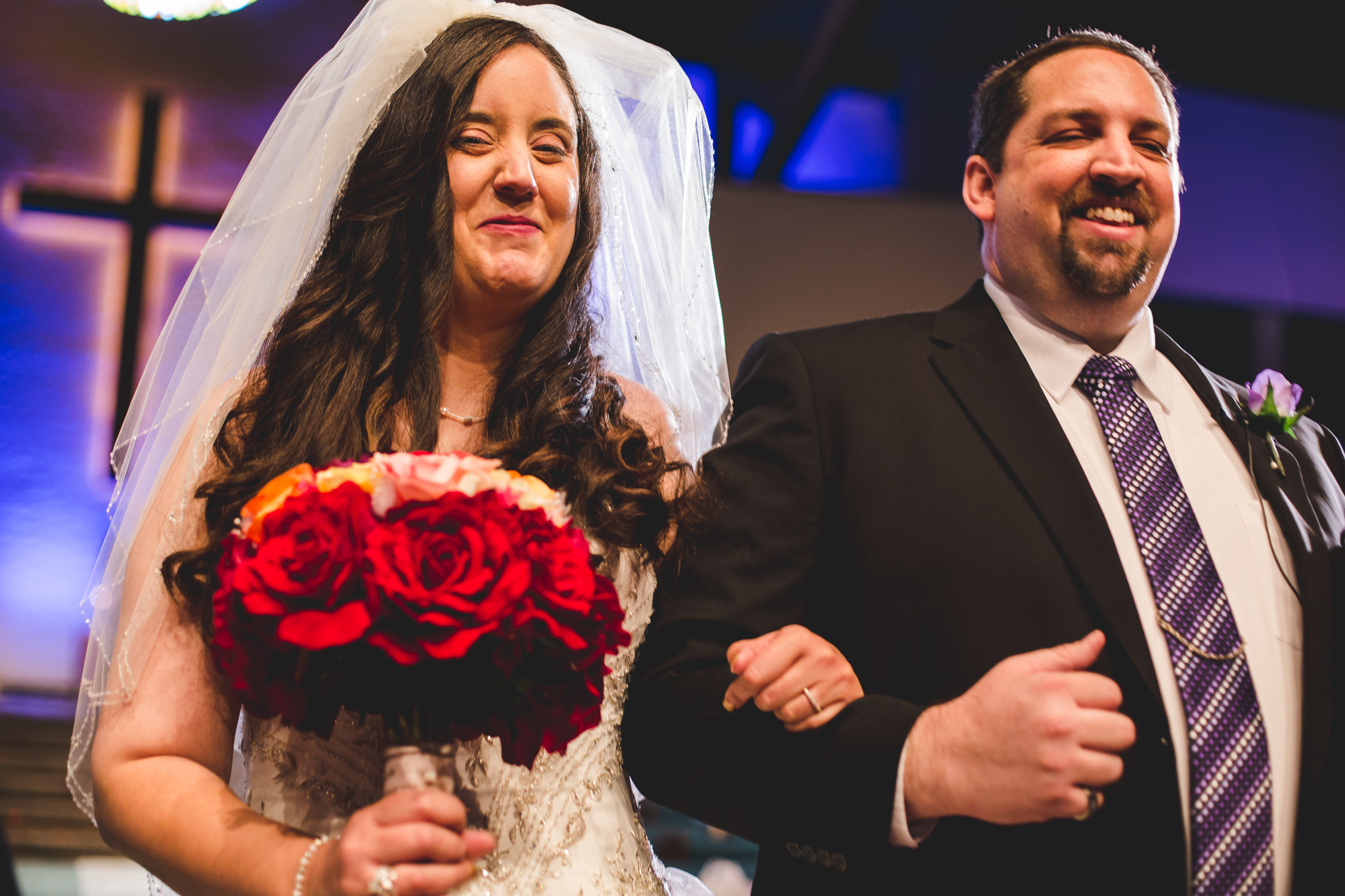 rs bride and groom happy walking down aisle after ceremony