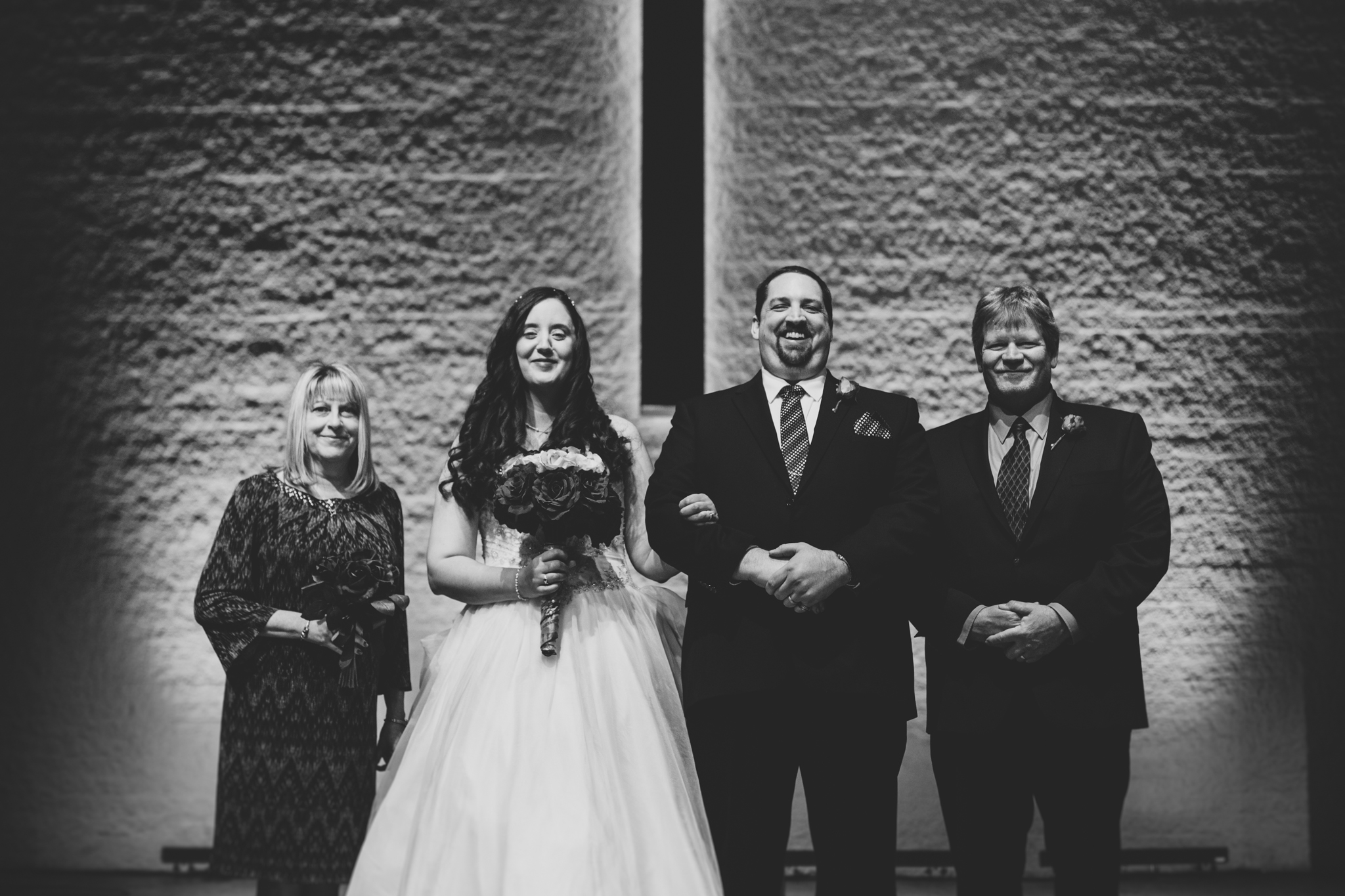 rs black and white wedding family group shot