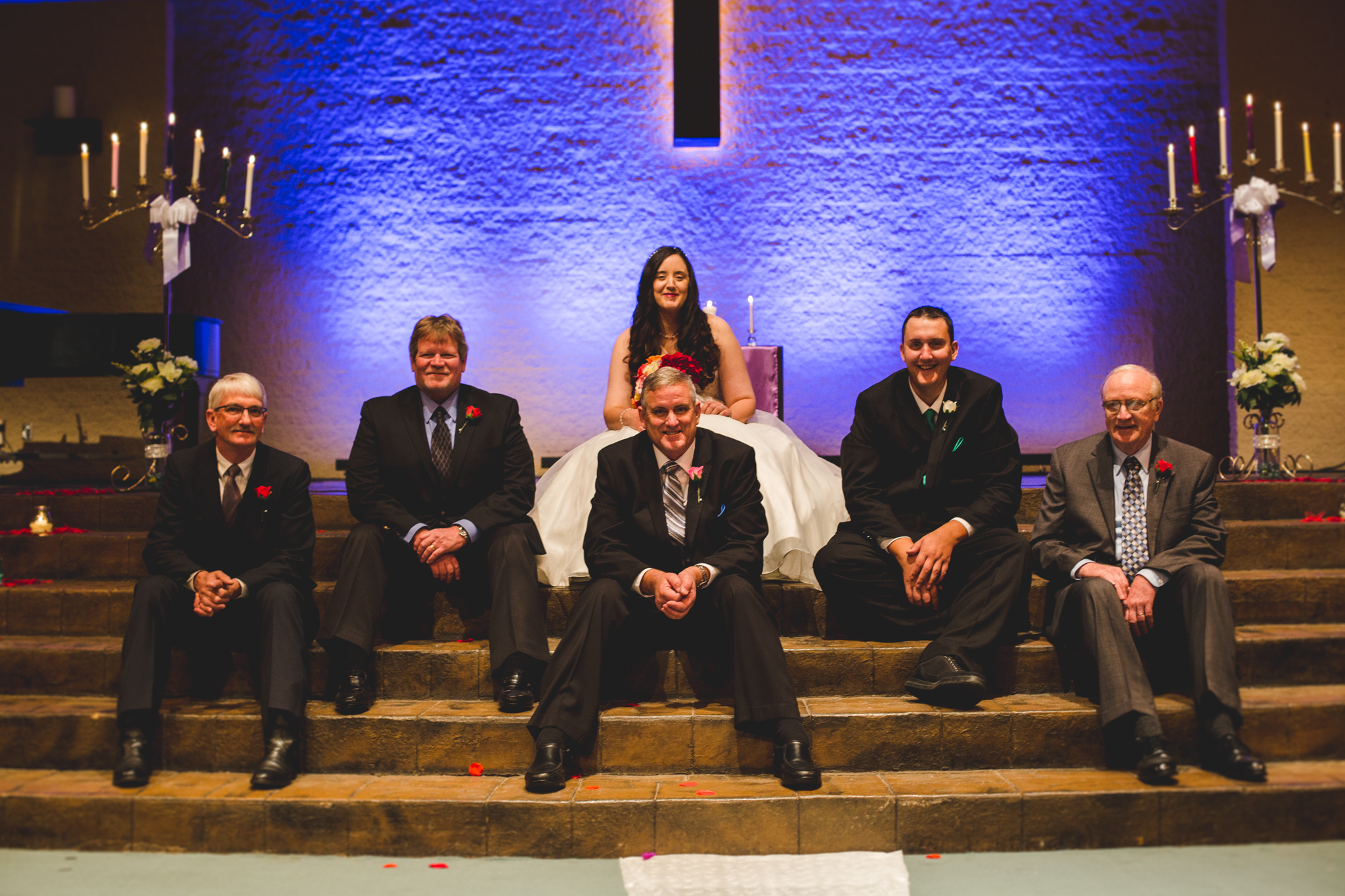 rs bride with groomsmen and father from wedding