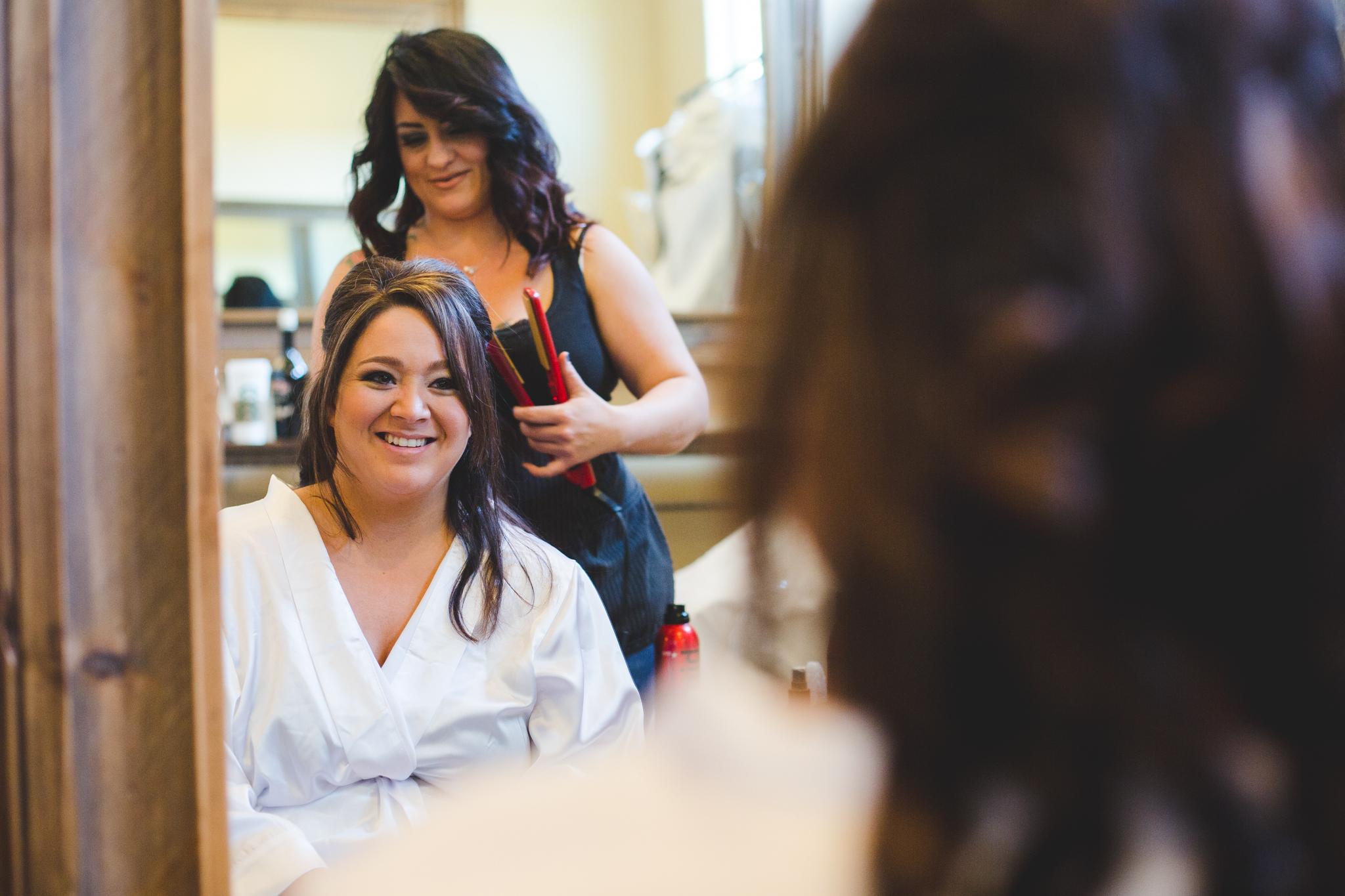 bride getting hair done mj