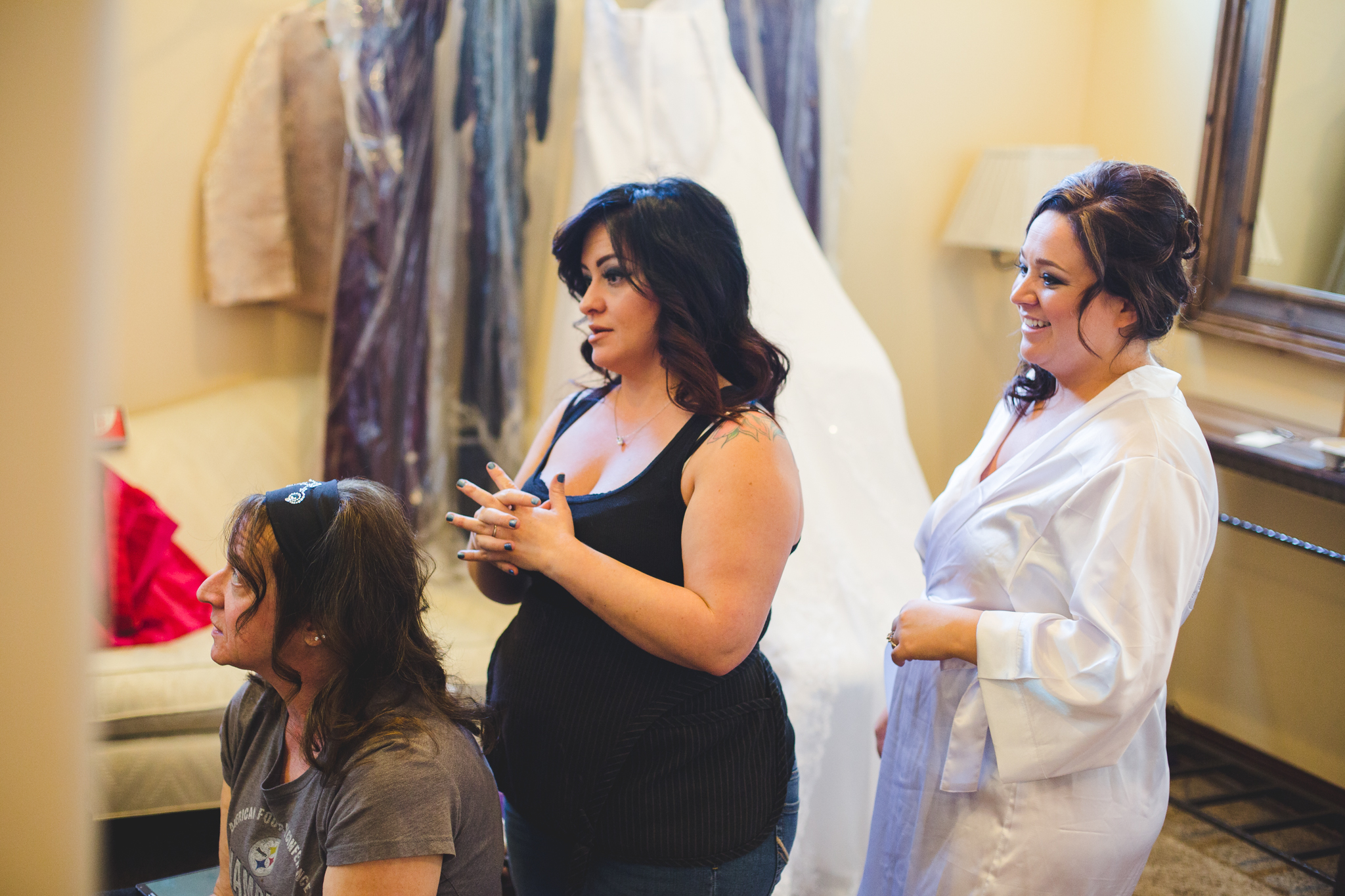 bride watching mother get her hair done mj