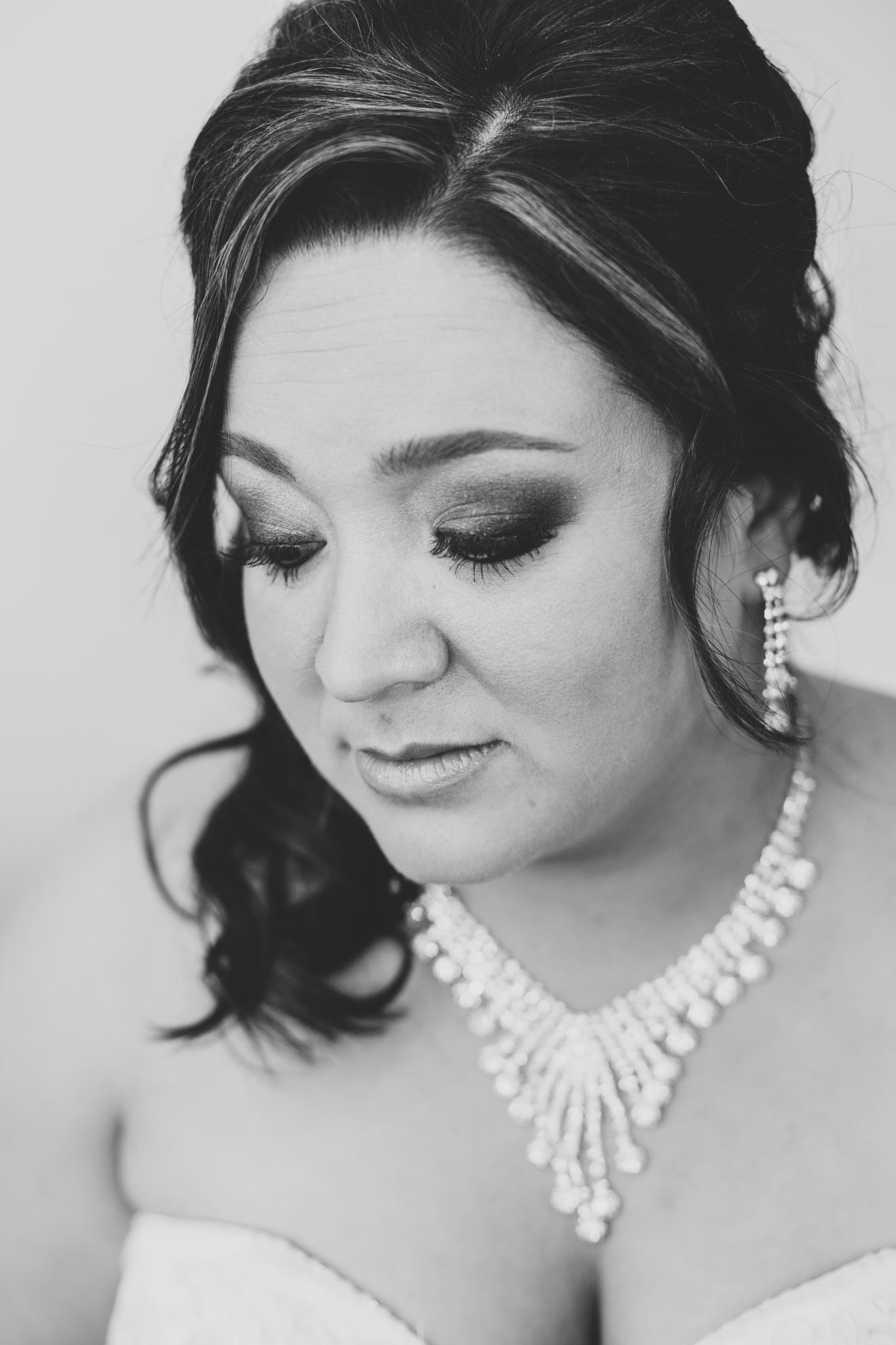 bw bridal portrait bride with jewelry on mj