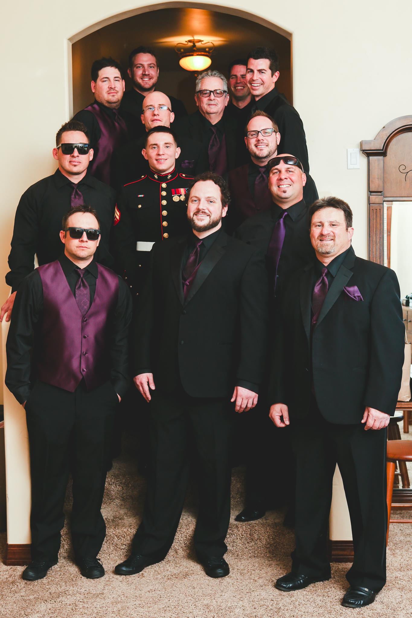 groom and groomsmen ready the boys mj