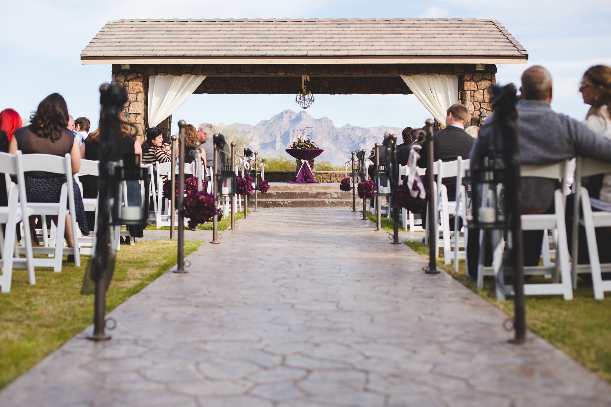 beautiful ceremony aisle superstition manor superstition mountains mj