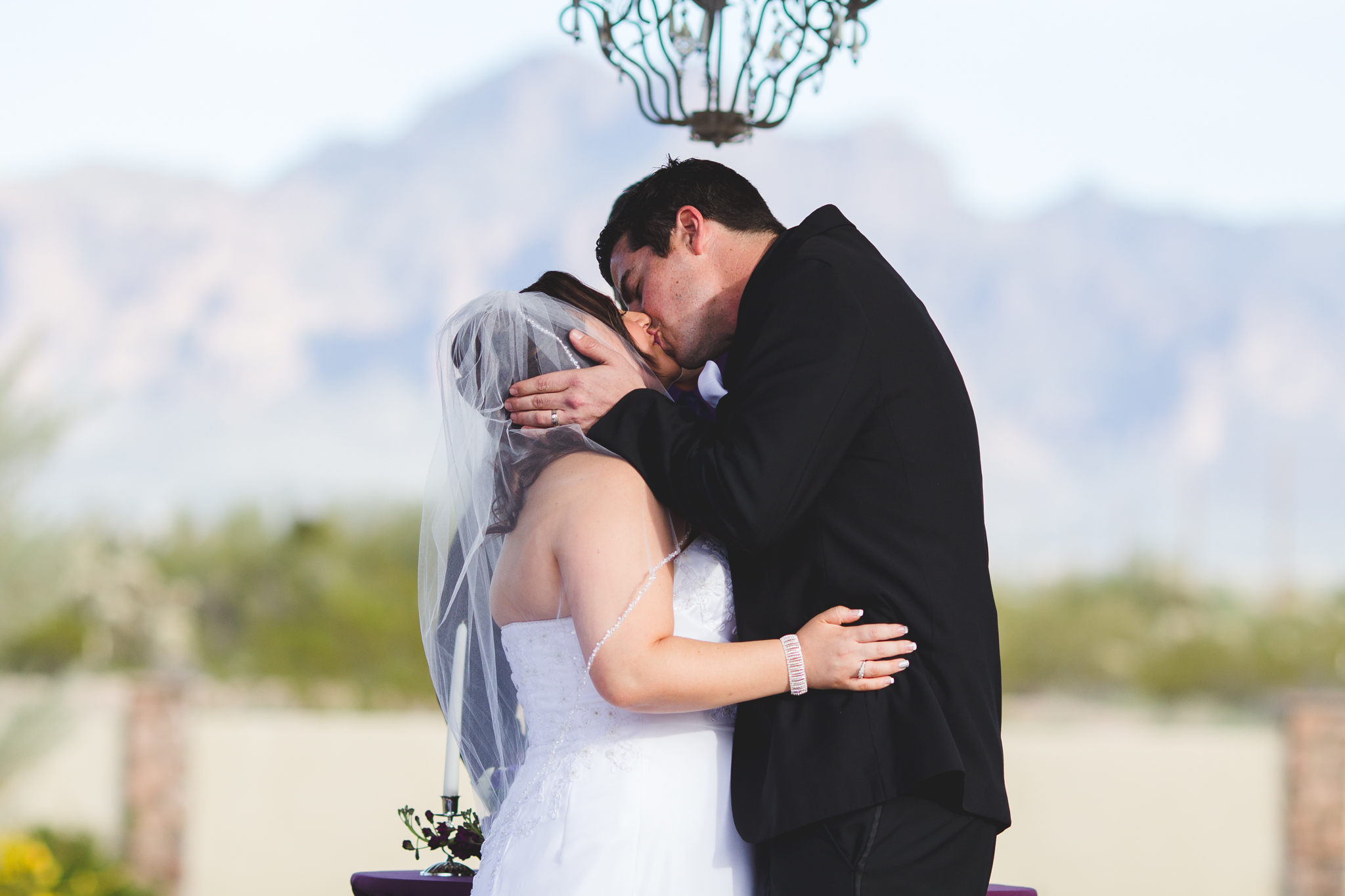 bride and groom kiss for first time husband and wife mj