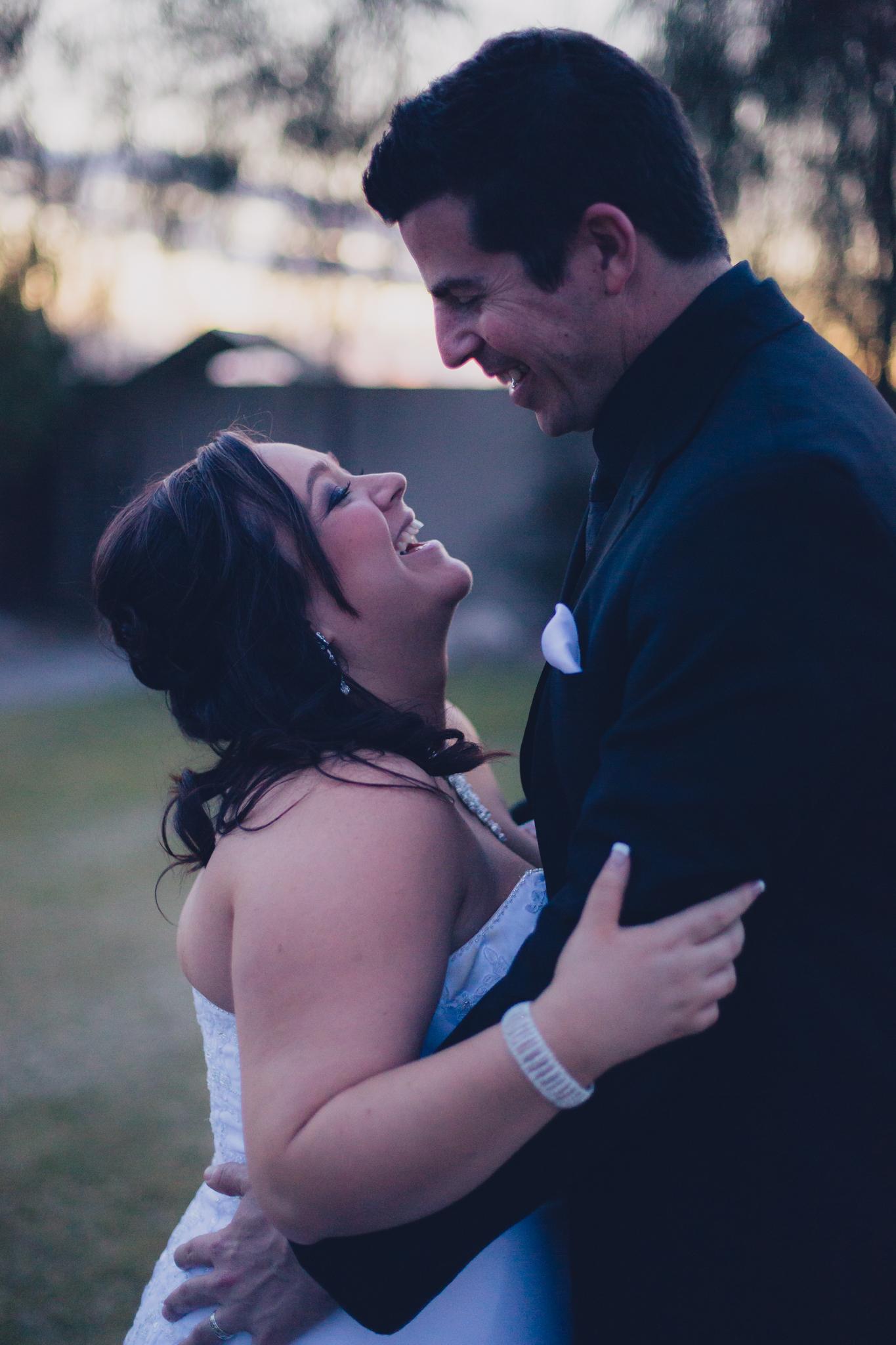 sunset portrait of bride and groom mj