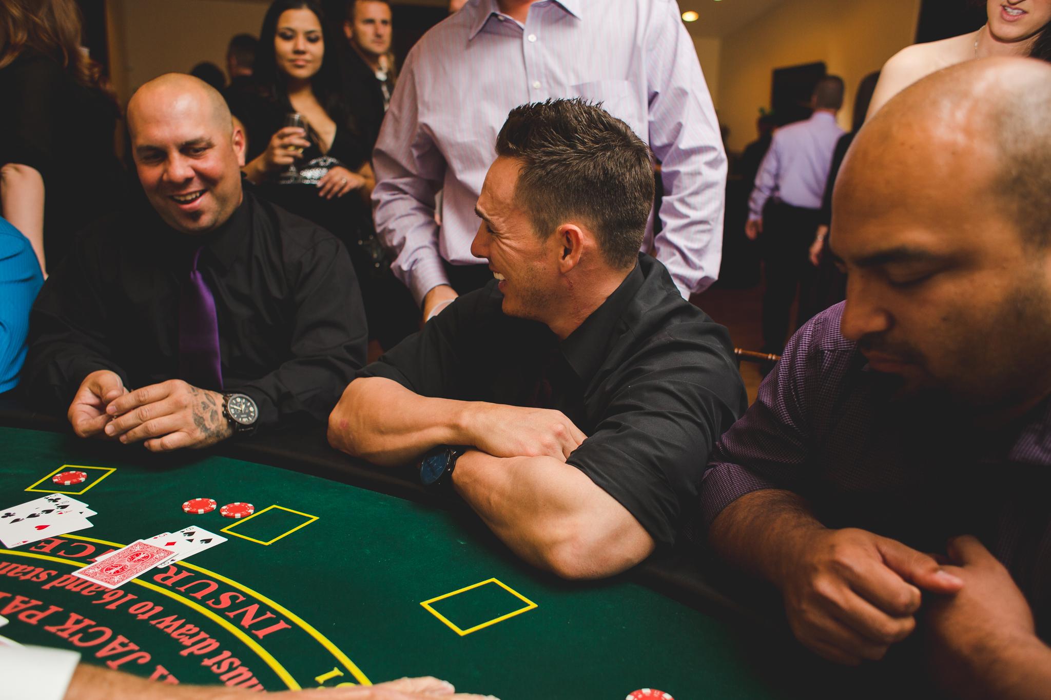 wedding reception blackjack player laughs mj